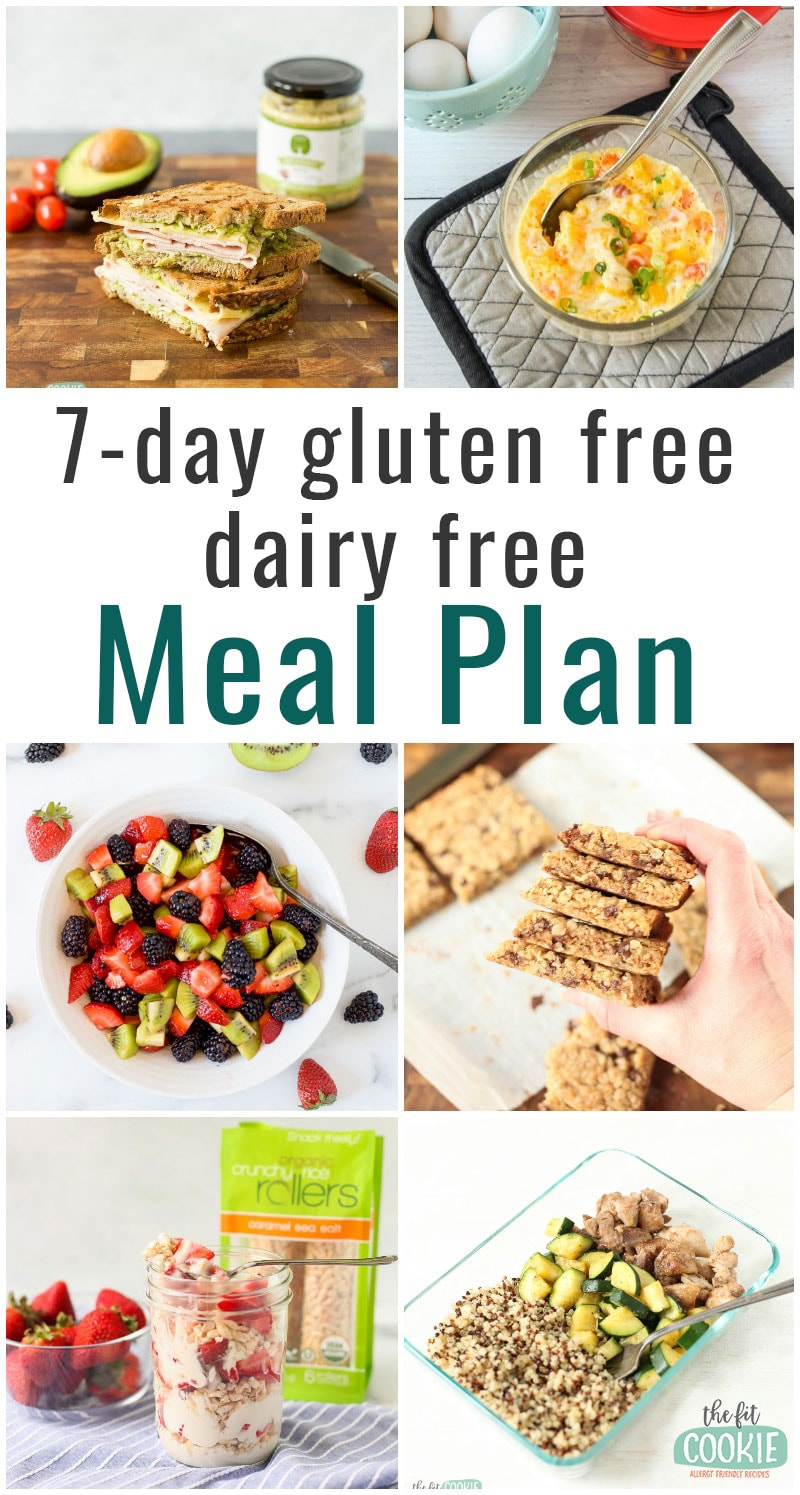 "image collage with text overlay ""7-day gluten free dairy free meal plan"""