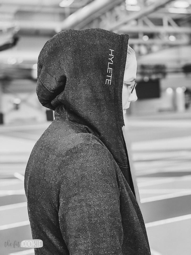 woman wearing Hylete hoodie