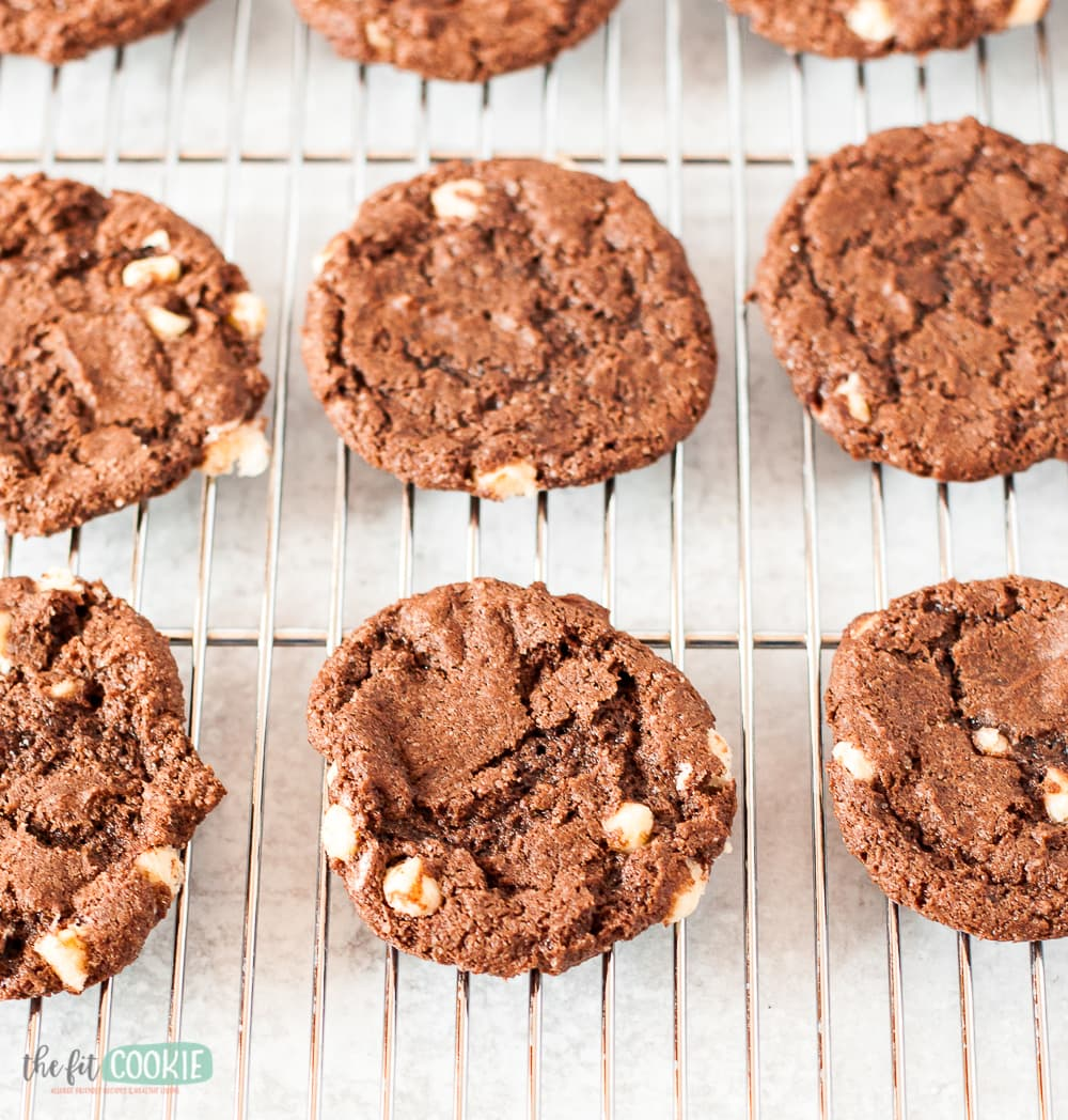 chocolate cookies on a cooling rack