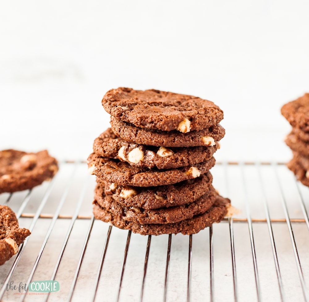 stack of dairy free chocolate white chocolate chip cookies