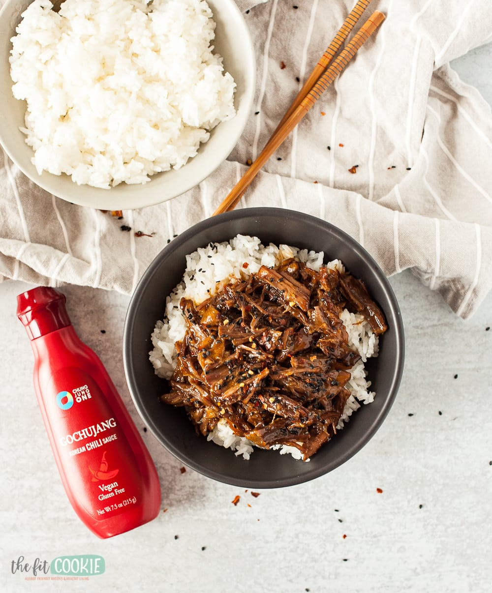 overhead photo of rice and Chun Jung One korean beef and gochujang