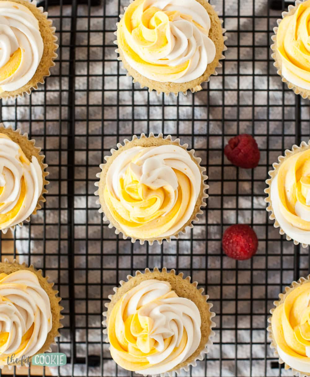 overhead photo of cupcakes with yellow and white frosting