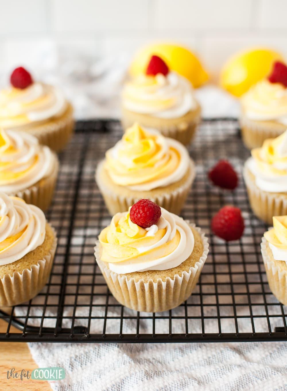 gluten free lemon cupcakes with raspberry on top