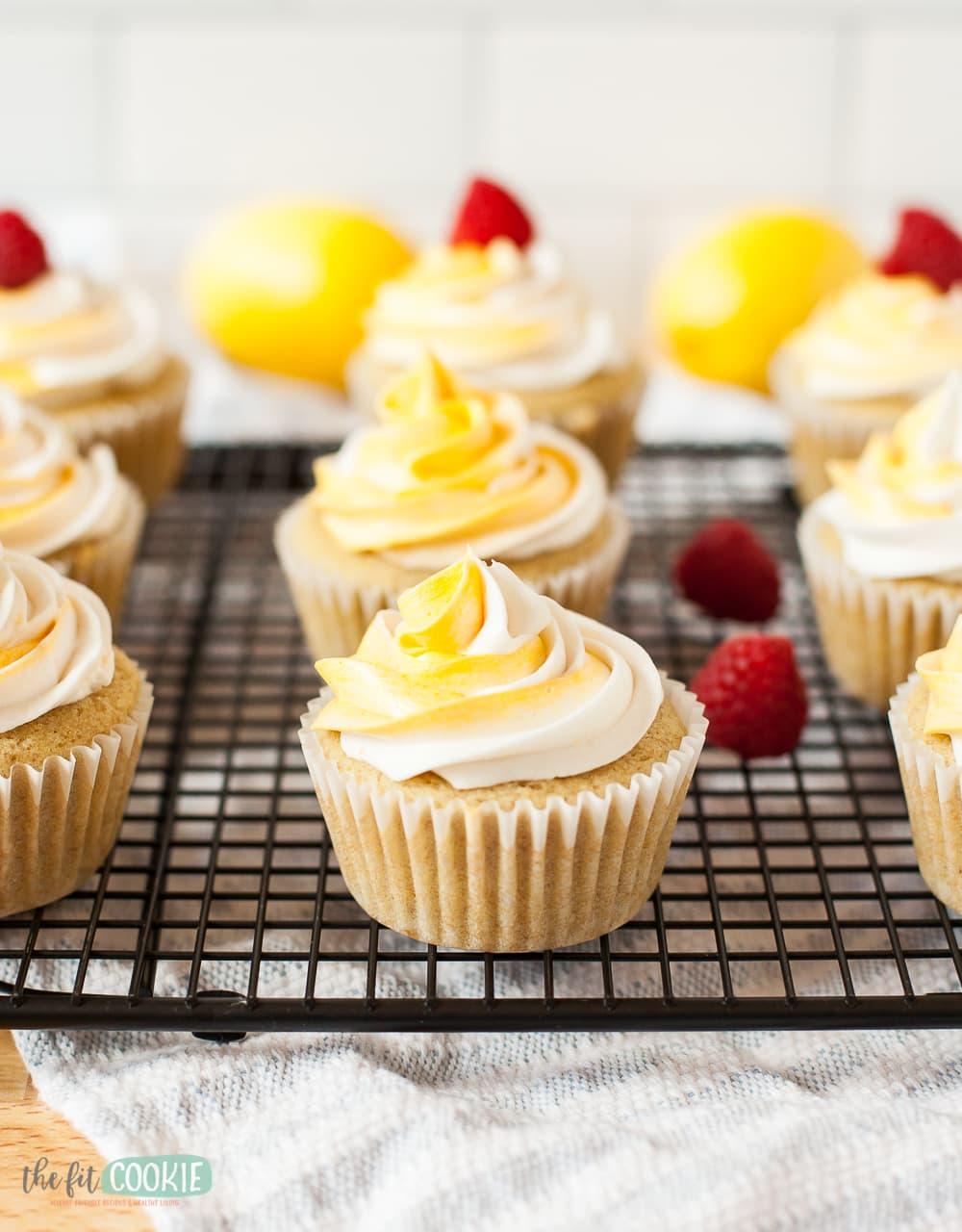 vegan lemon cupcake with 2-tone frosting
