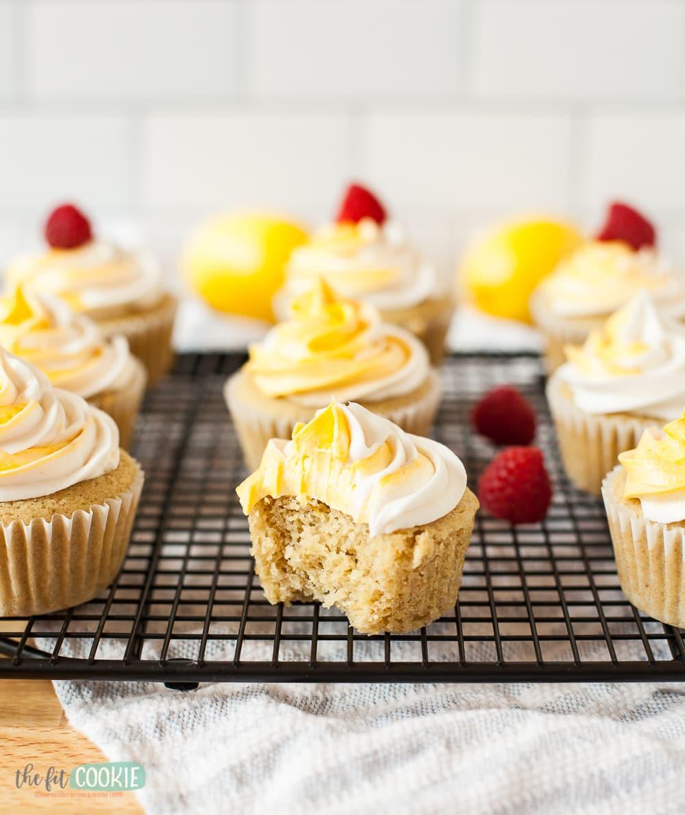 lemon cupcake with a bite taken