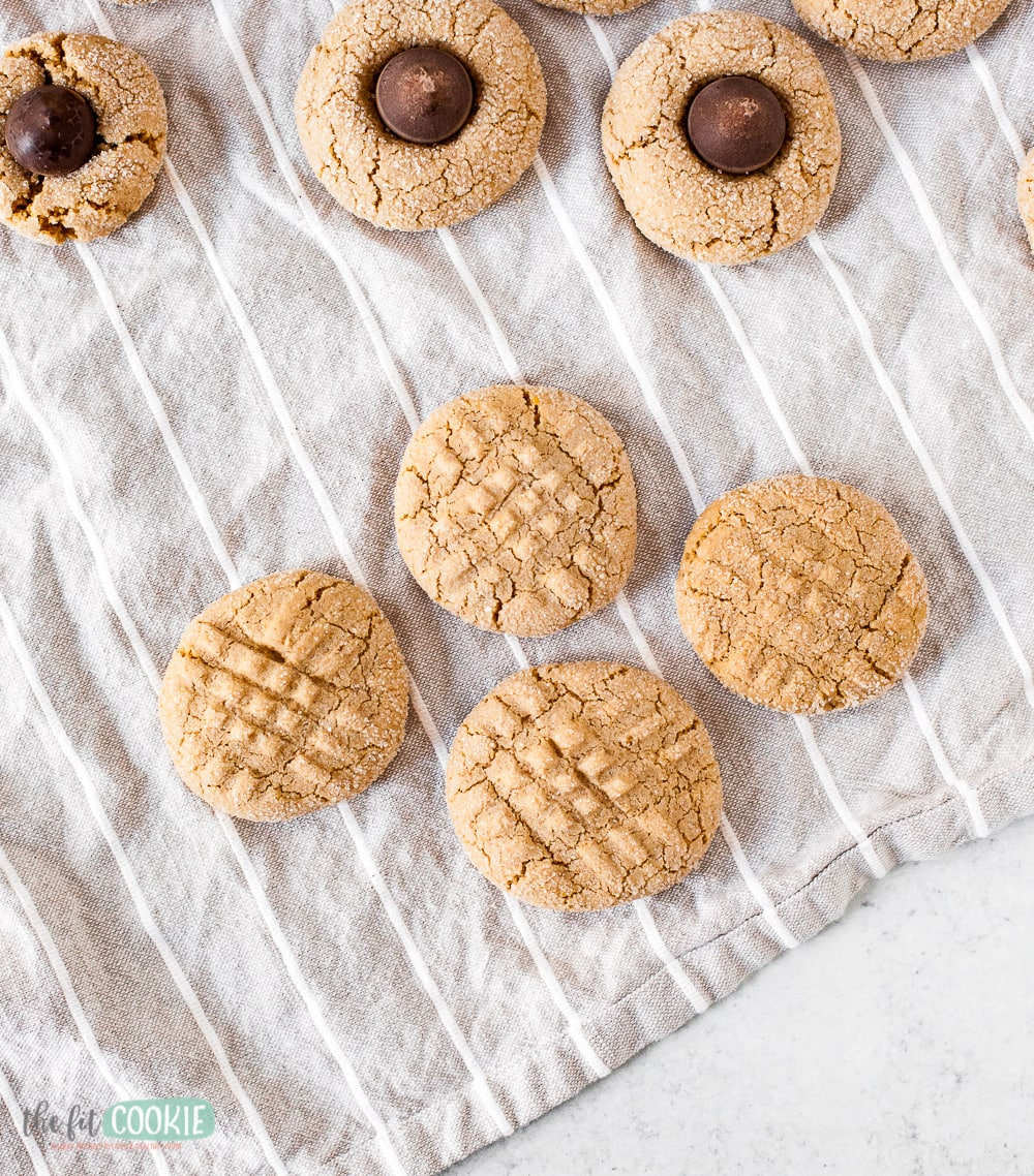 overhead photo of soft sunbutter cookies