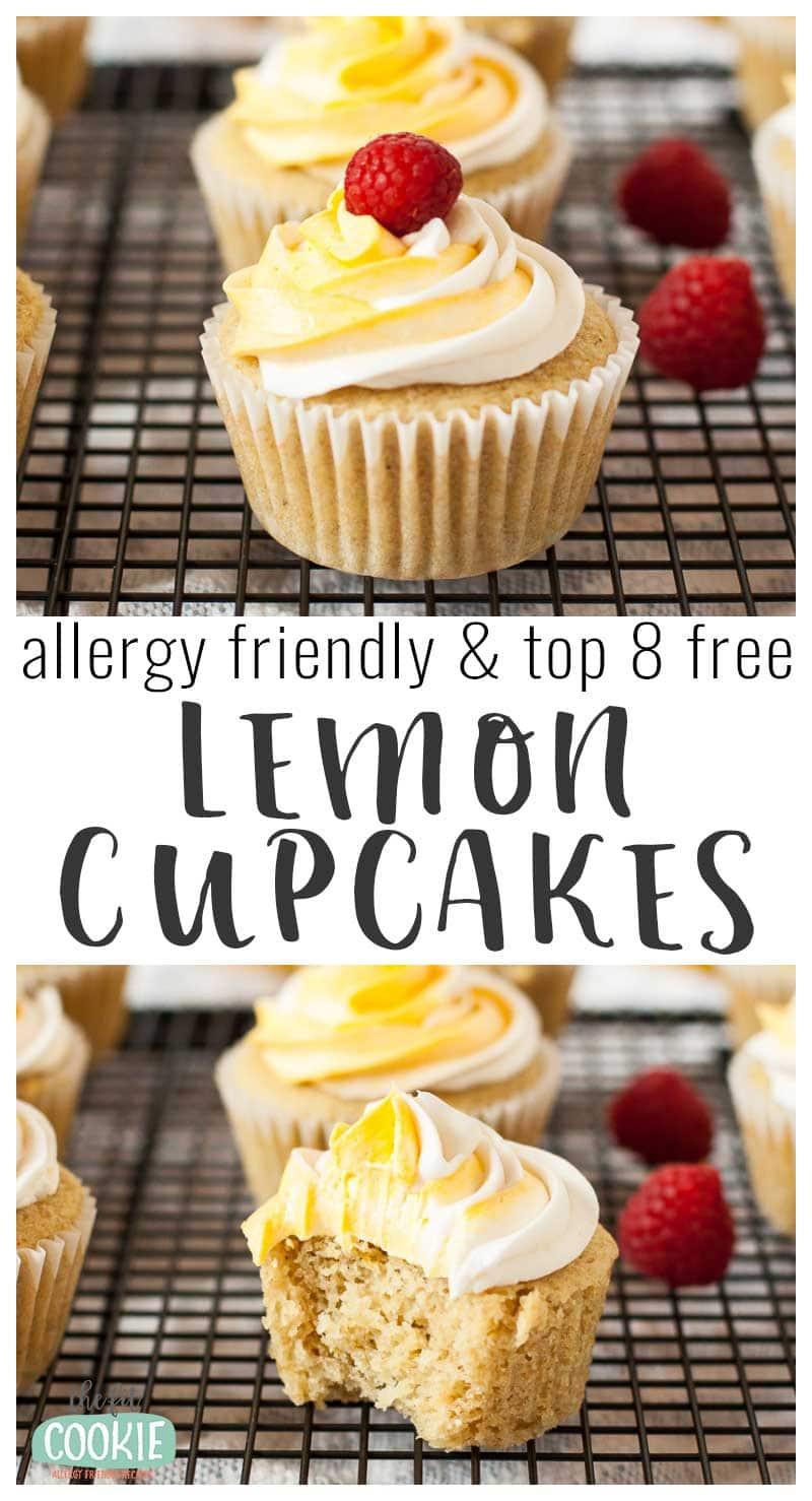 image collage of lemon cupcakes