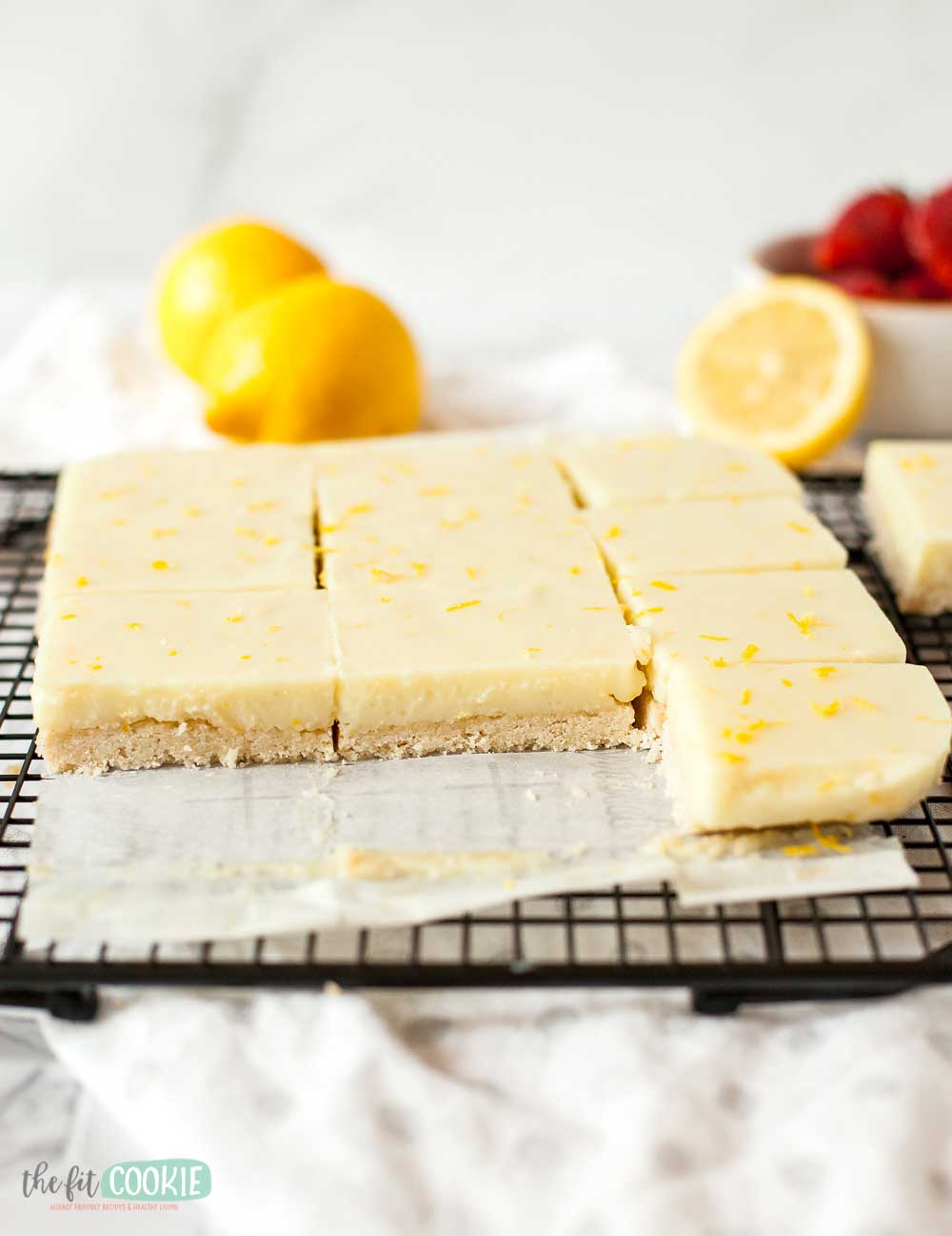 sliced lemon bars on a wire cooling rack