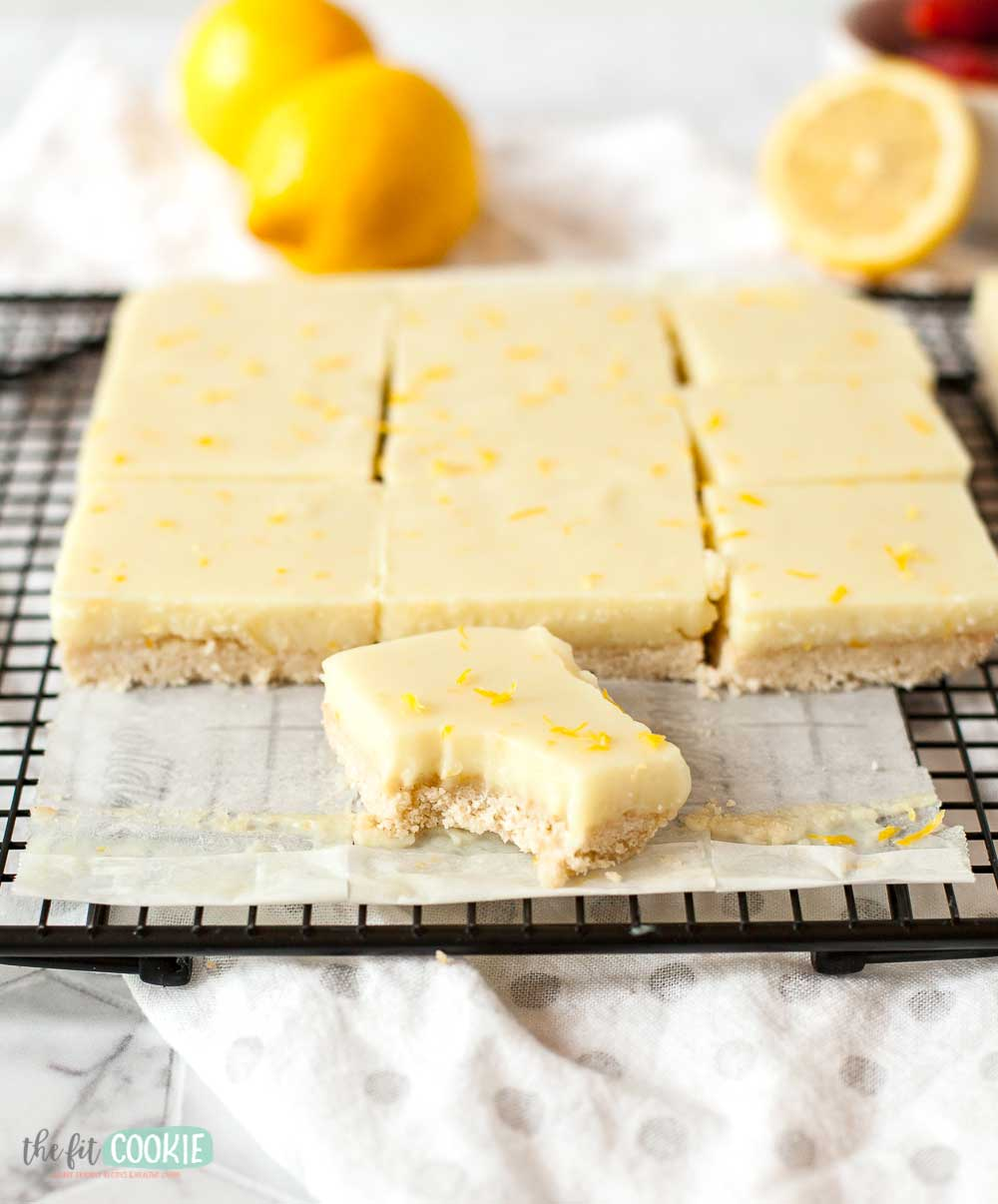 lemon bar with a bite taken