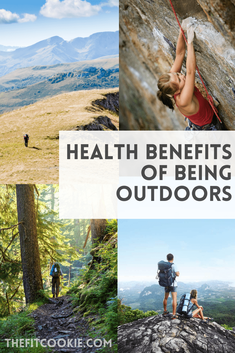 image collage of health benefits of being outdoors