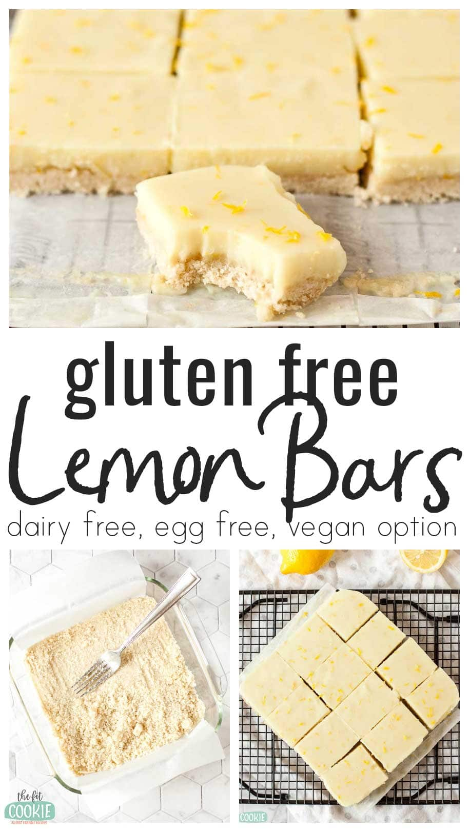 photo collage of lemon bars with text overlay