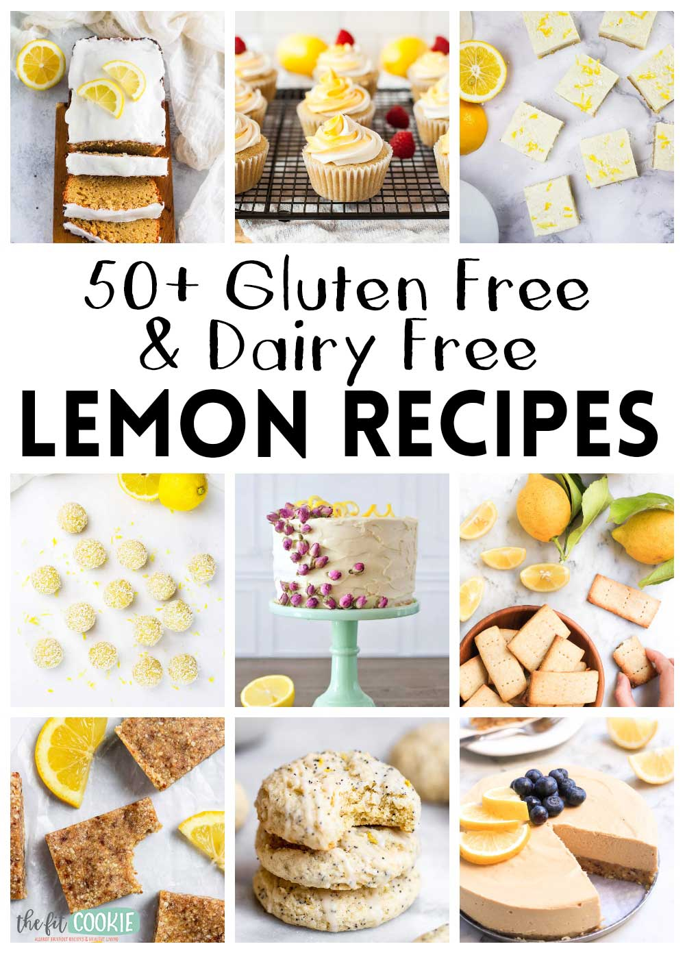photo collage of gluten free dairy free lemon recipes