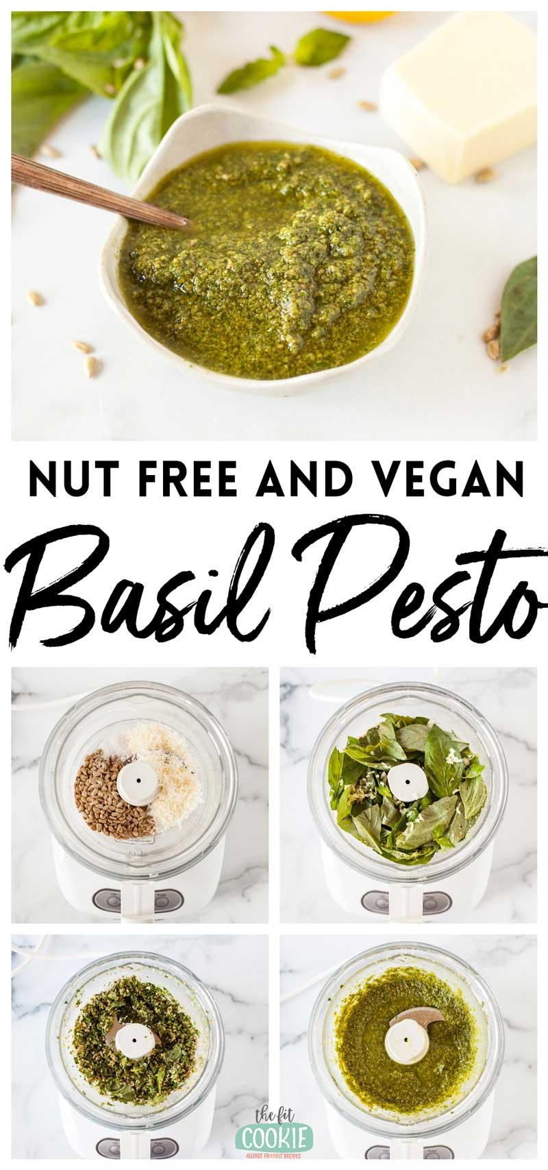photo collage of dairy free pesto