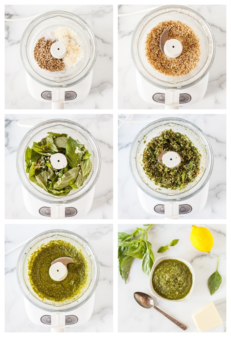 photo collage showing steps to make dairy free pesto