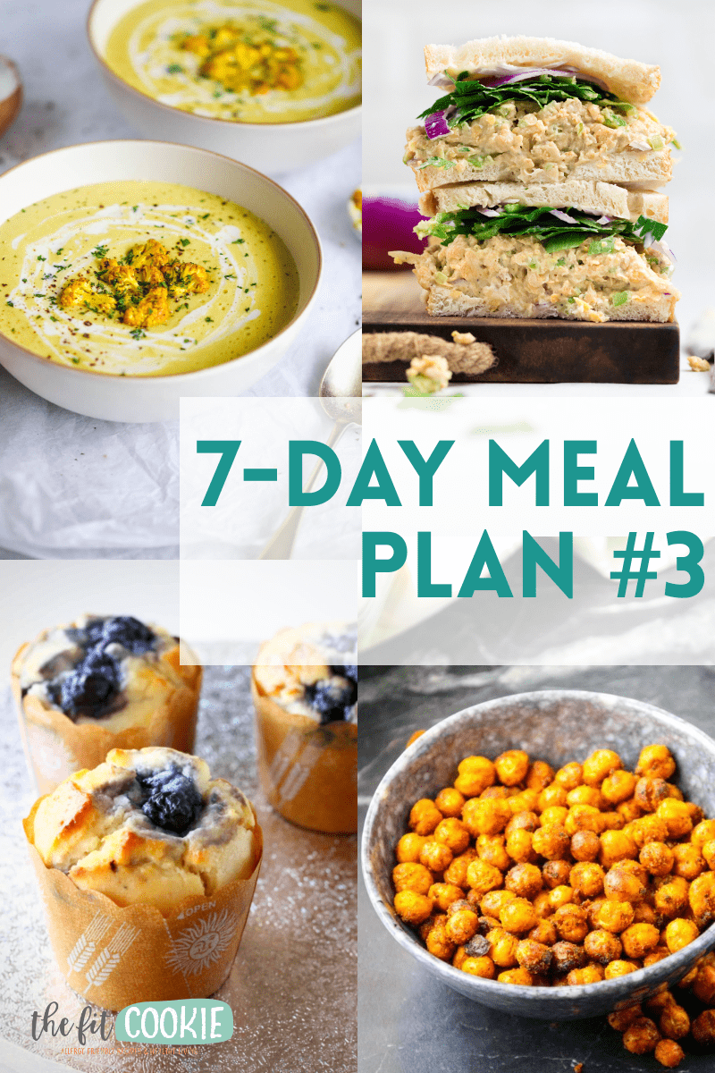 image collage of recipes included in dairy free meal plan