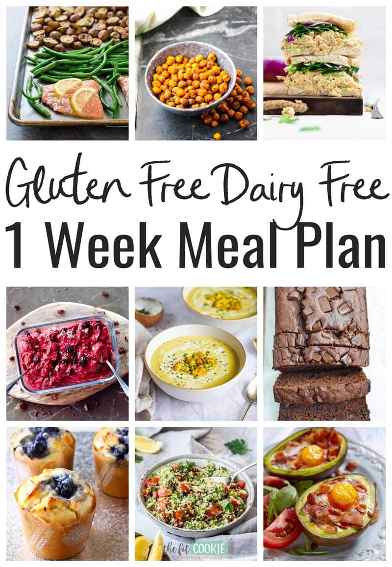 photo collage of recipes included in gluten free dairy free meal plan