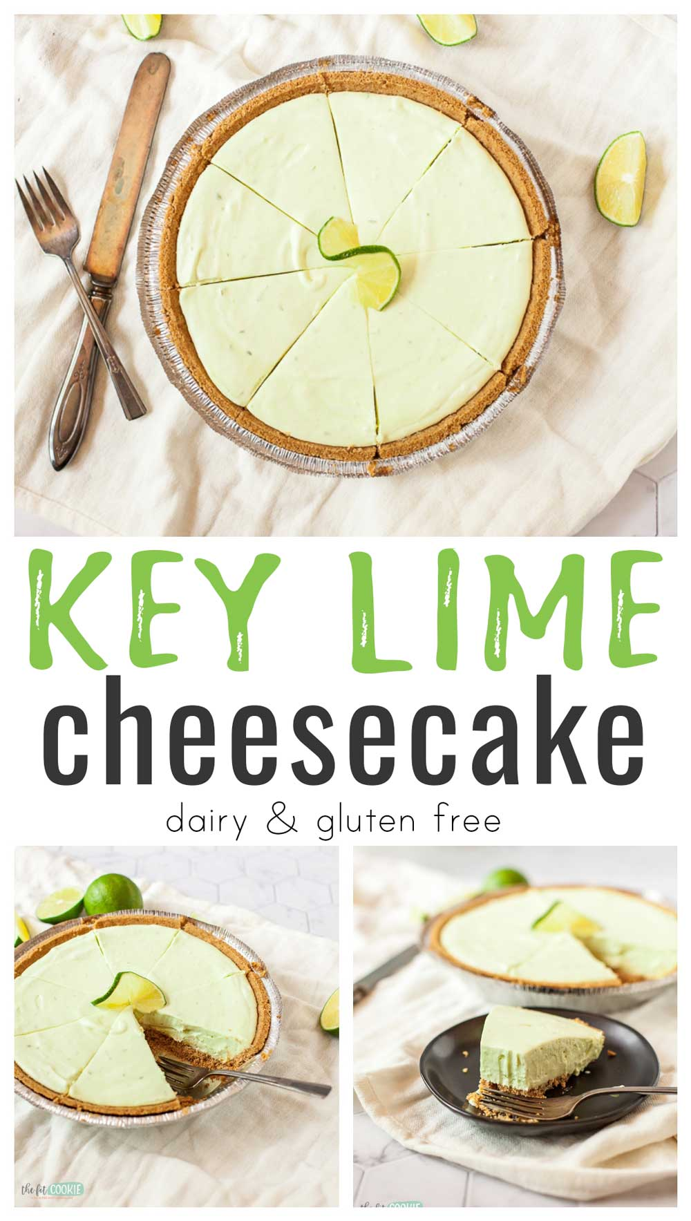photo collage of dairy free key lime cheesecake with text overlay