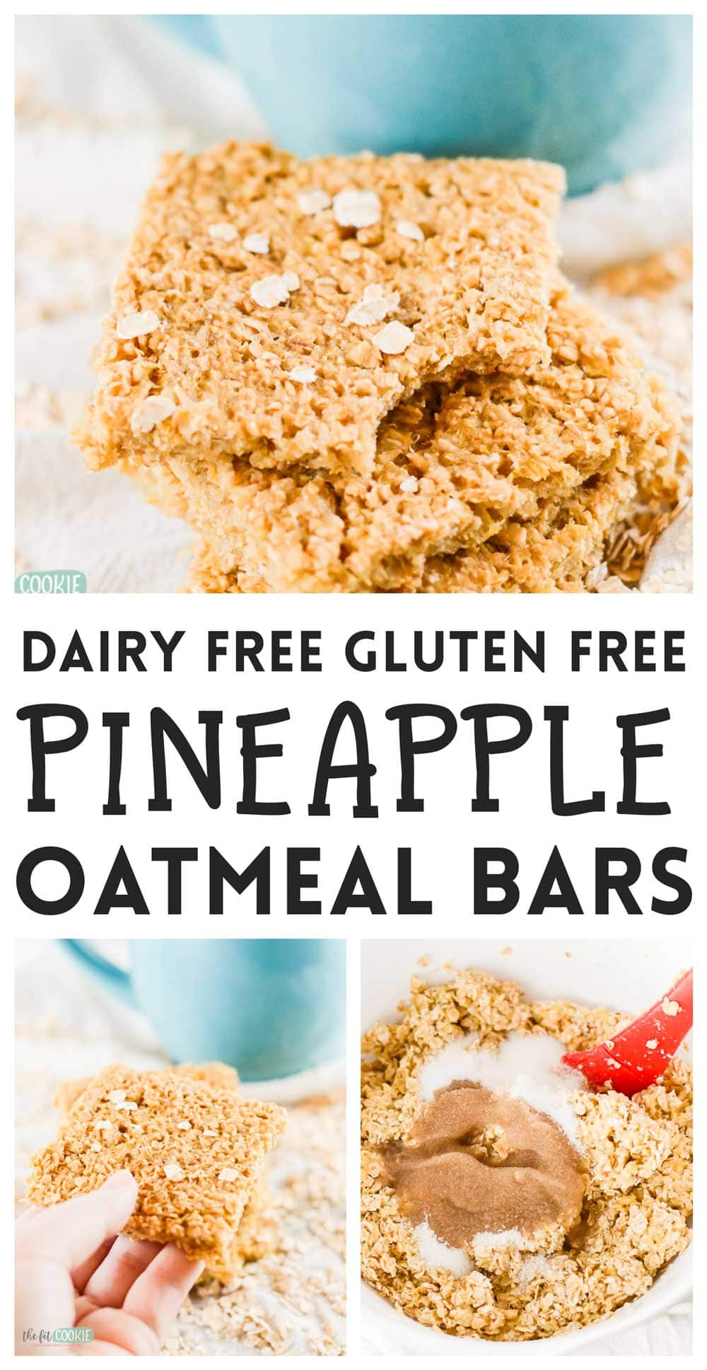 photo collage of pineapple oatmeal bars and how to make them