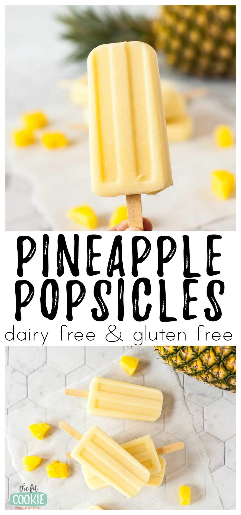 photo collage of dairy free pineapple popsicles