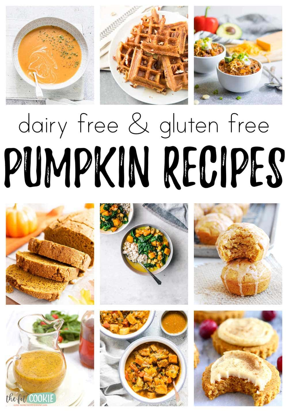 photo collage of various dairy free pumpkin recipes