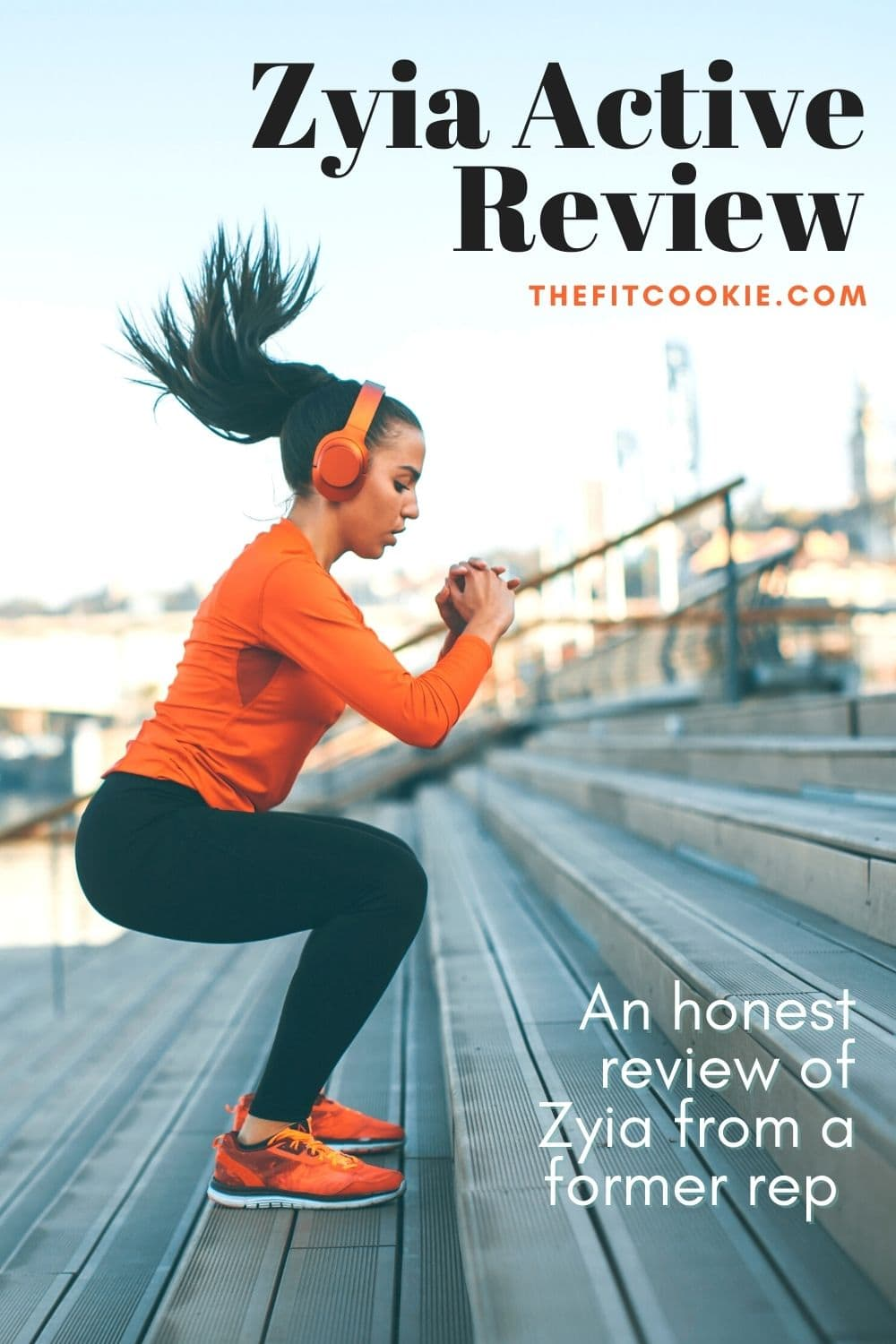 """photo of woman working out with text overlay """"zyia active review"""""""