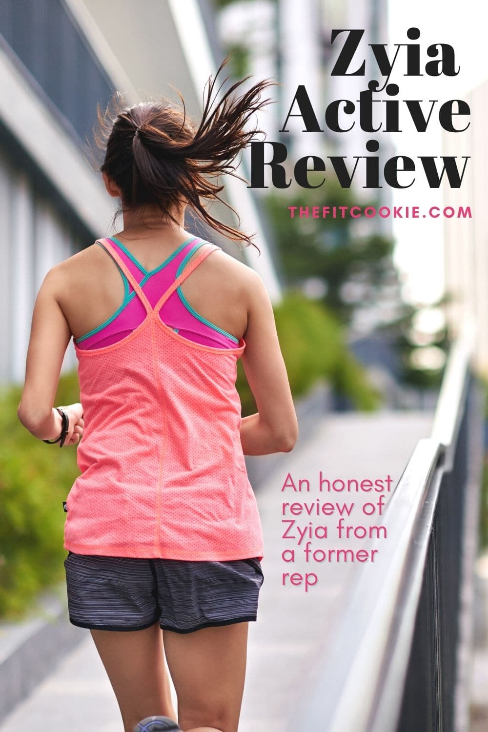 """photo of woman running with text overlay """"zyia active review"""""""