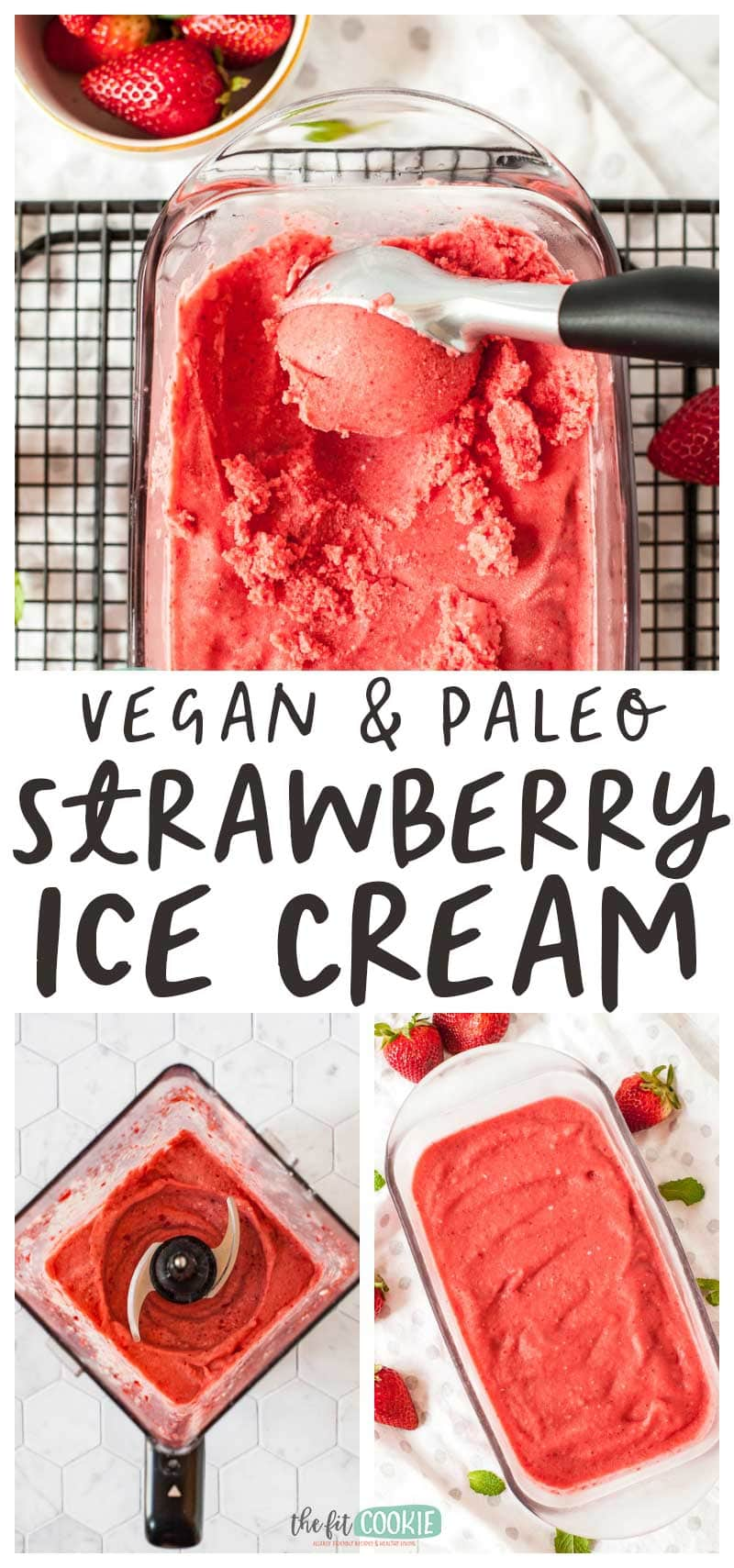 photo collage of vegan strawberry ice cream