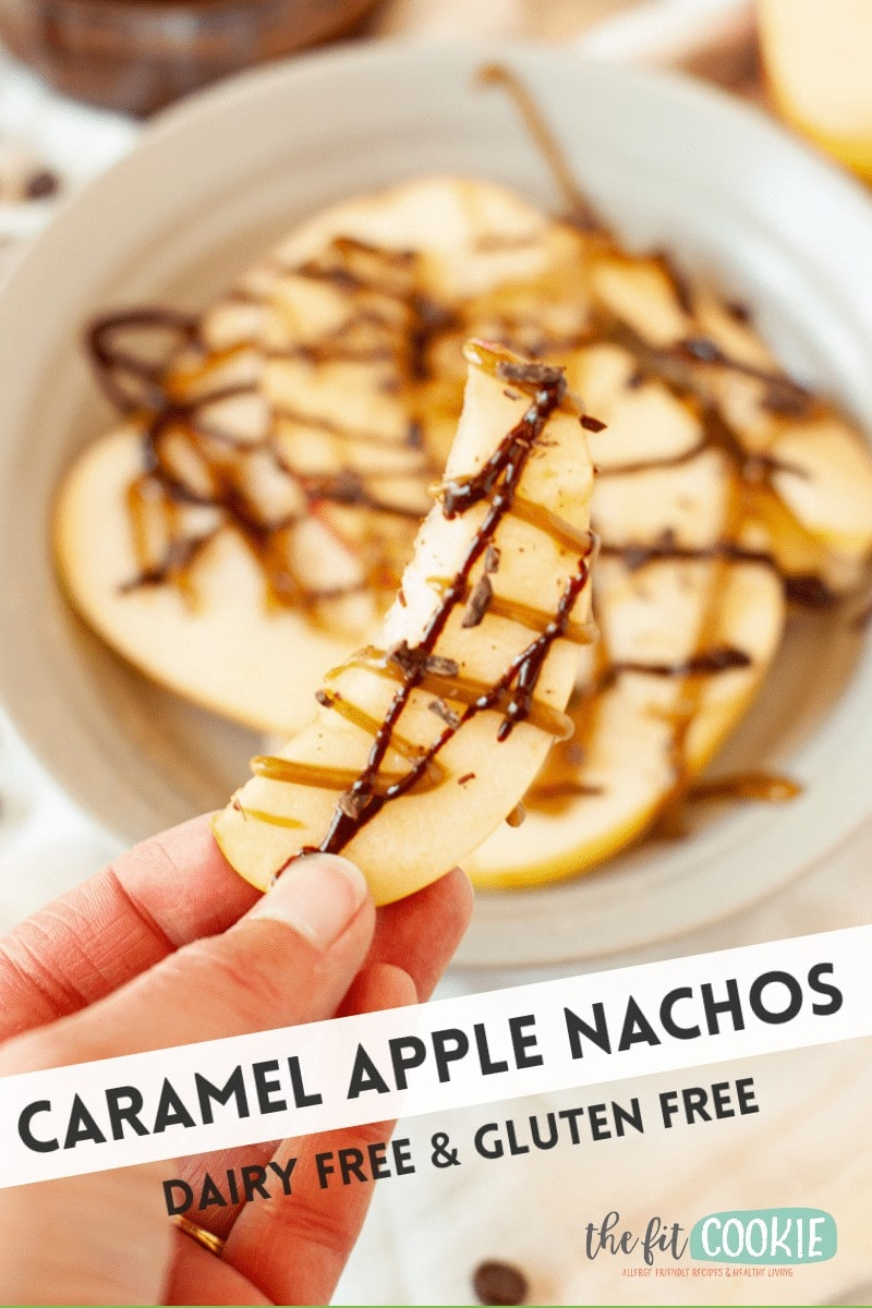 slice of apple with caramel and chocolate sauce on it