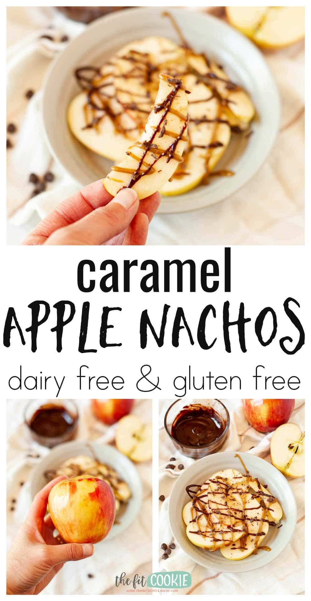 photo collage of dairy free apple nachos