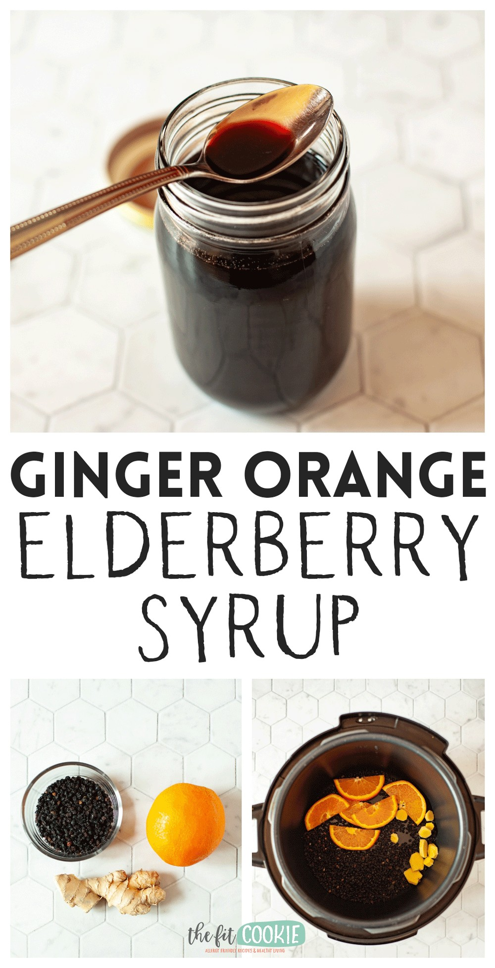 photo collage of elderberry syrup and ingredients