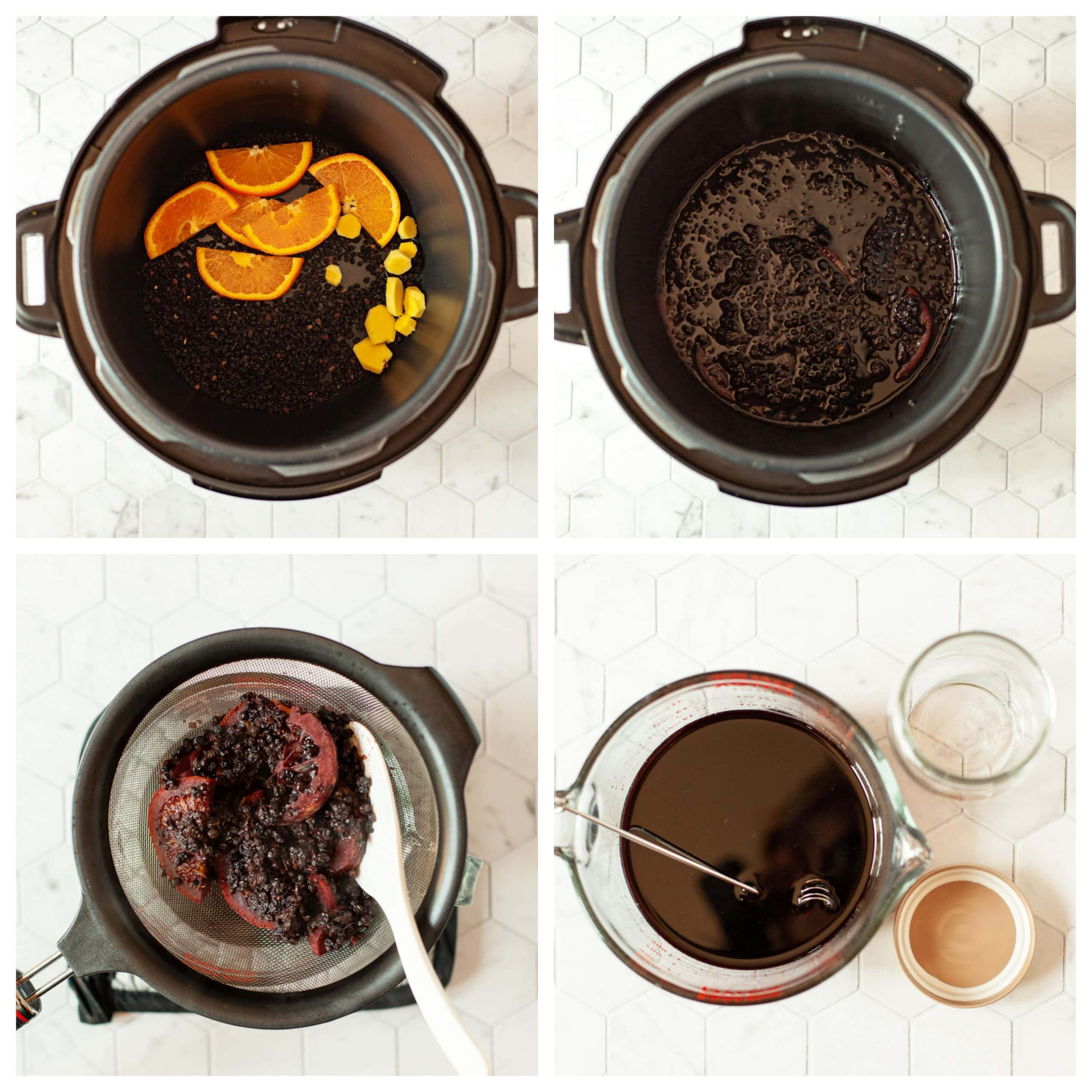 photo collage elderberry syrup made in pressure cooker