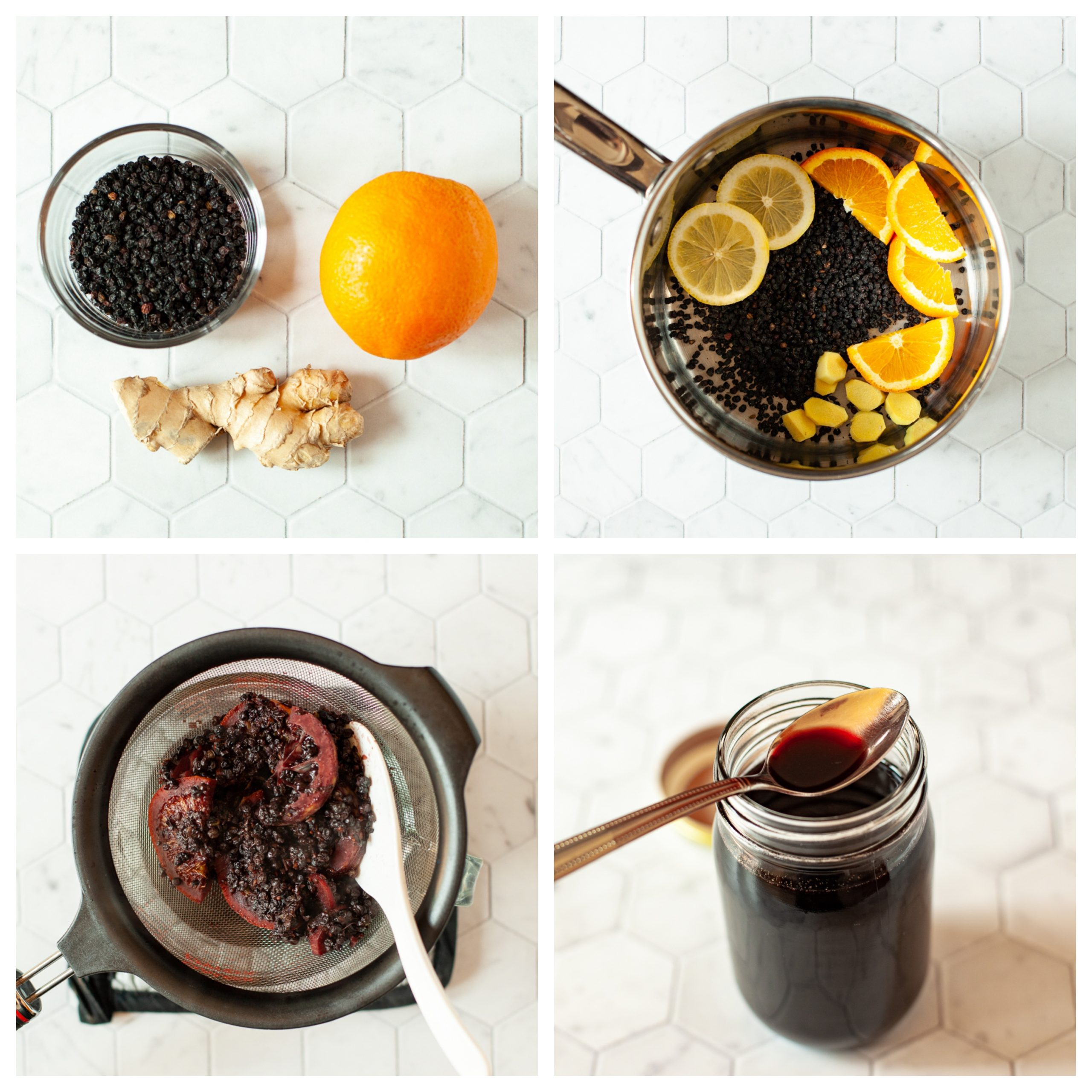 photo collage of elderberry syrup made on the stove