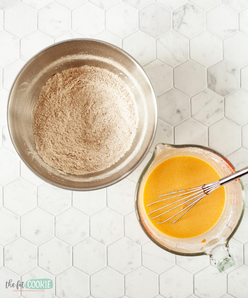 ingredients for gluten free pumpkin spice pancakes