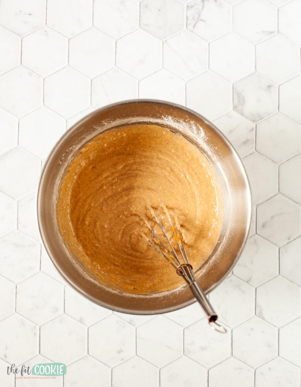 pumpkin pancake batter in a metal bowl