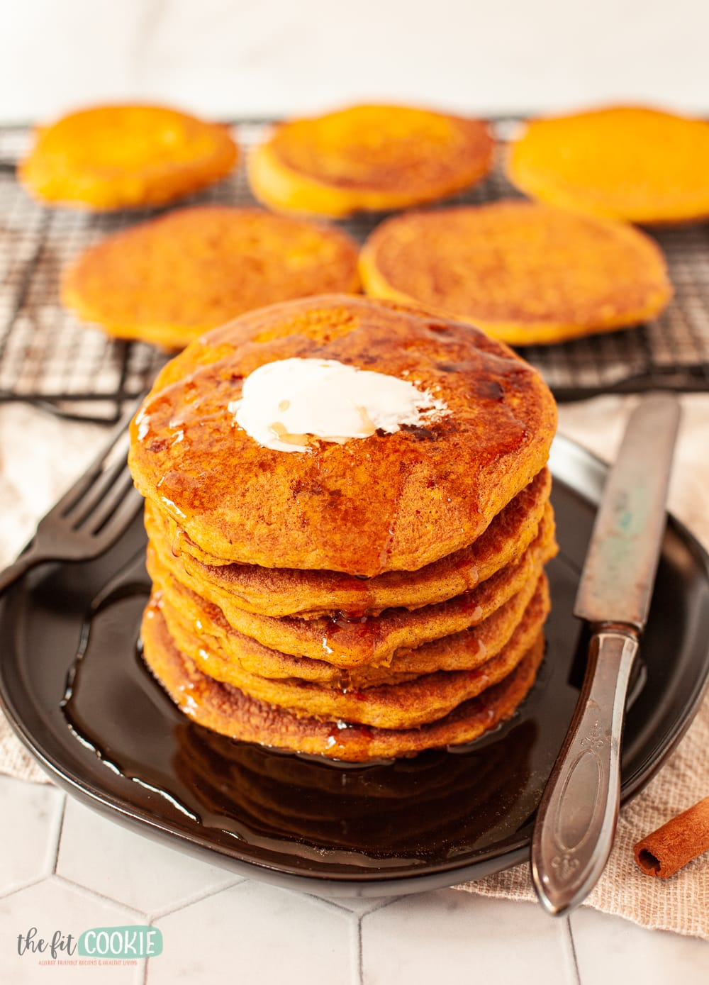 stack of dairy free pumpkin spice pancakes