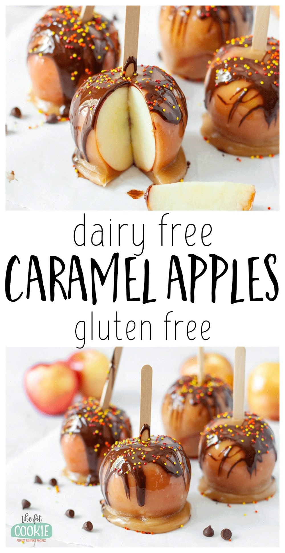 photo collage of dairy free caramel apples with chocolate drizzle