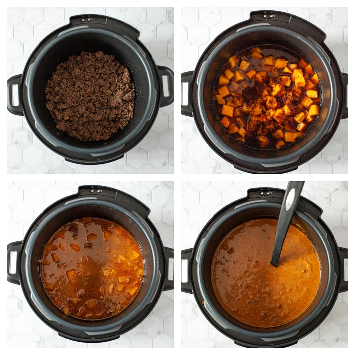 process photos for making instant pot pumpkin chili