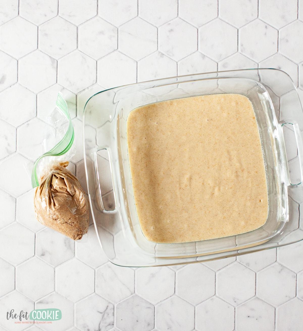 glass pan of cake batter