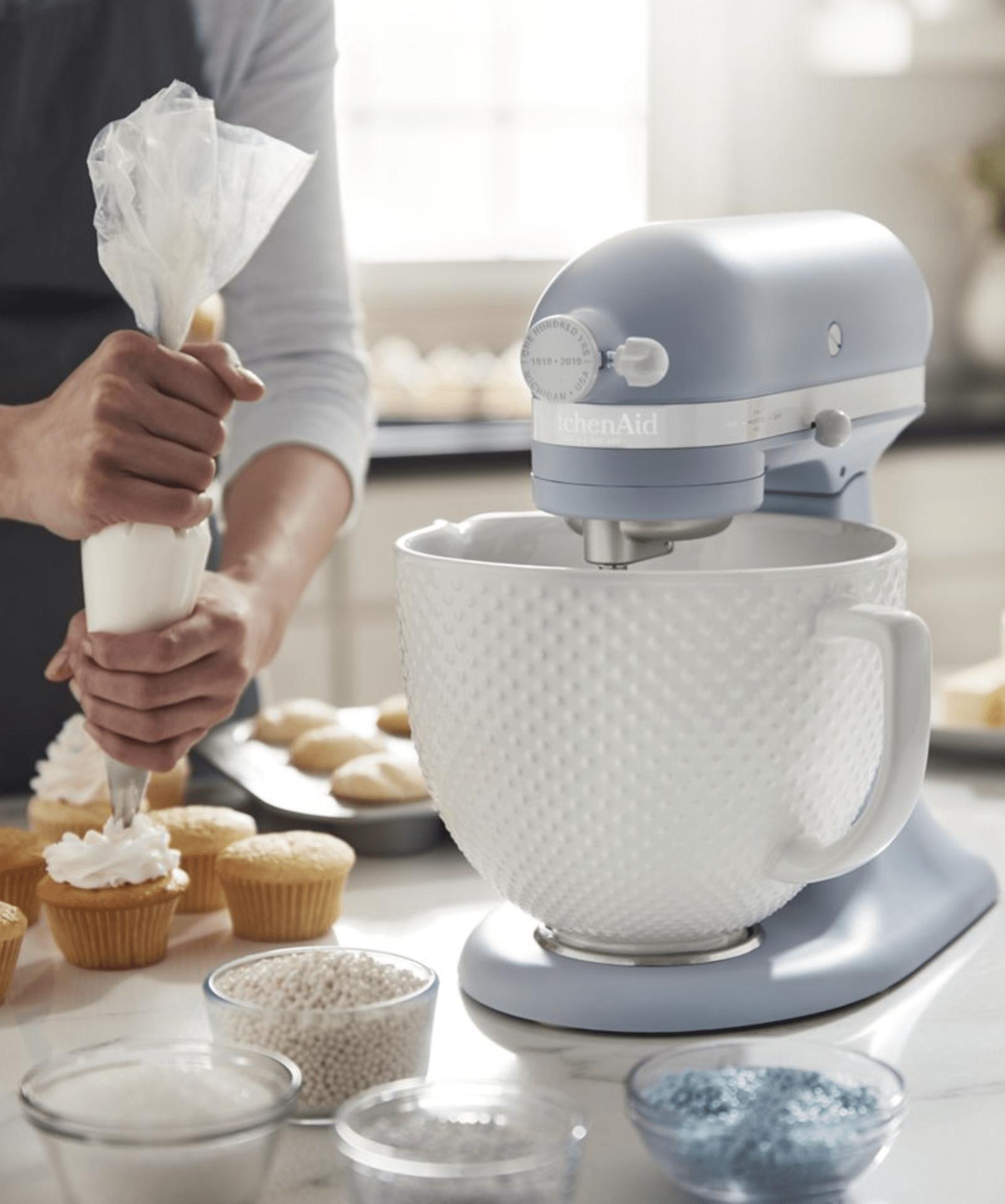 KitchenAid artisan mixer with hobnail bowl