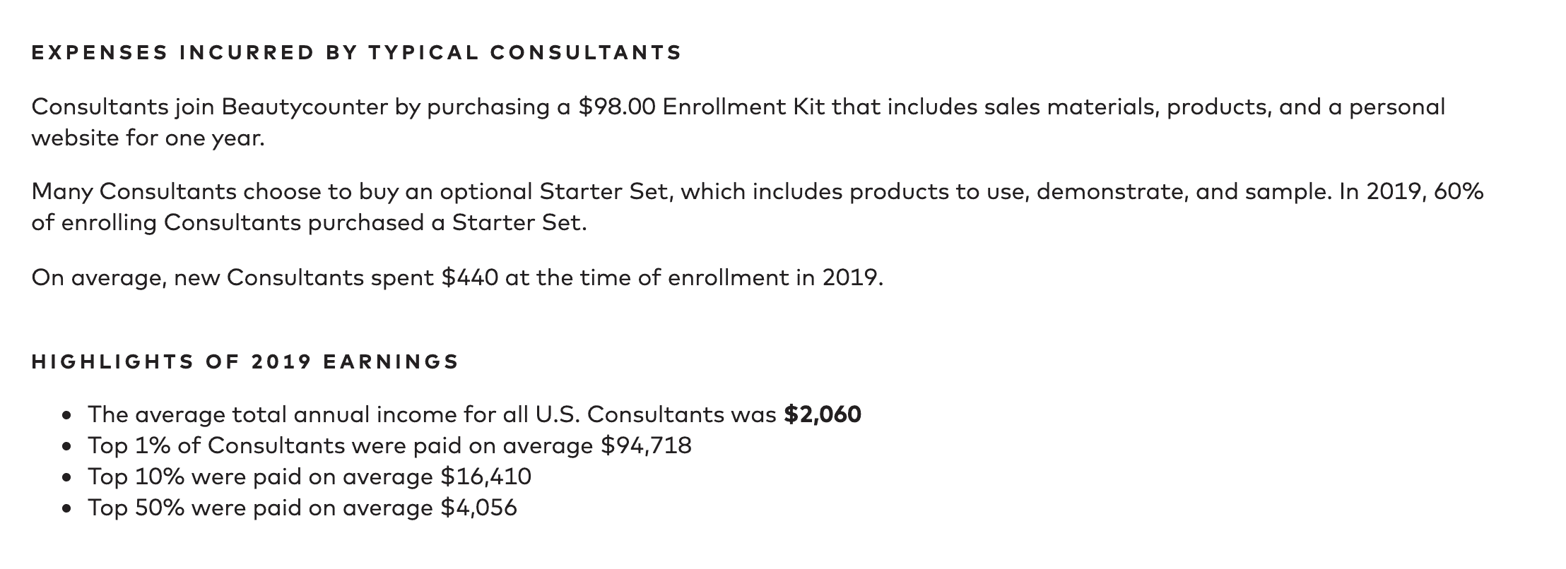 Beautycounter typical expenses for reps