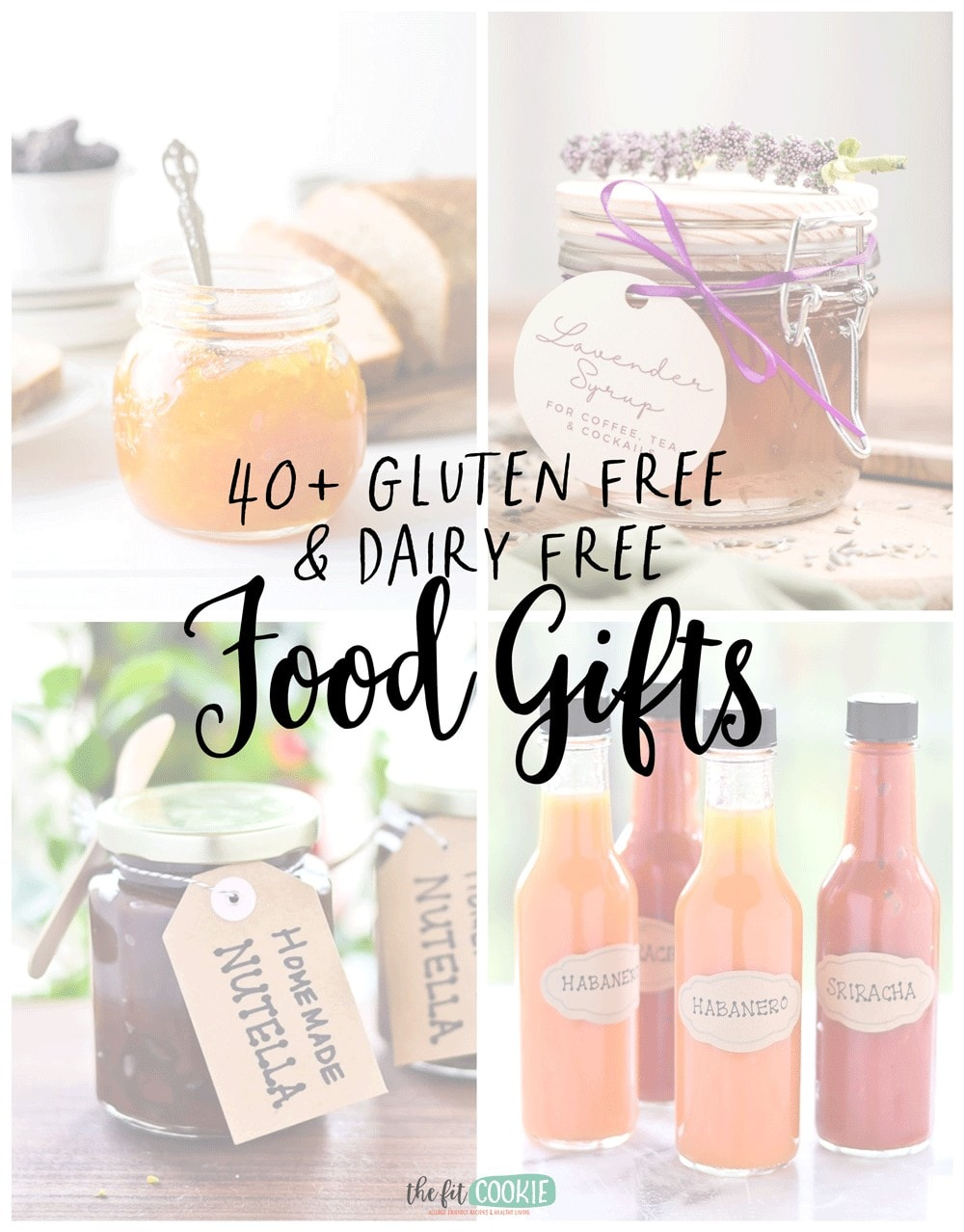 photo collage of gluten free dairy free food gifts