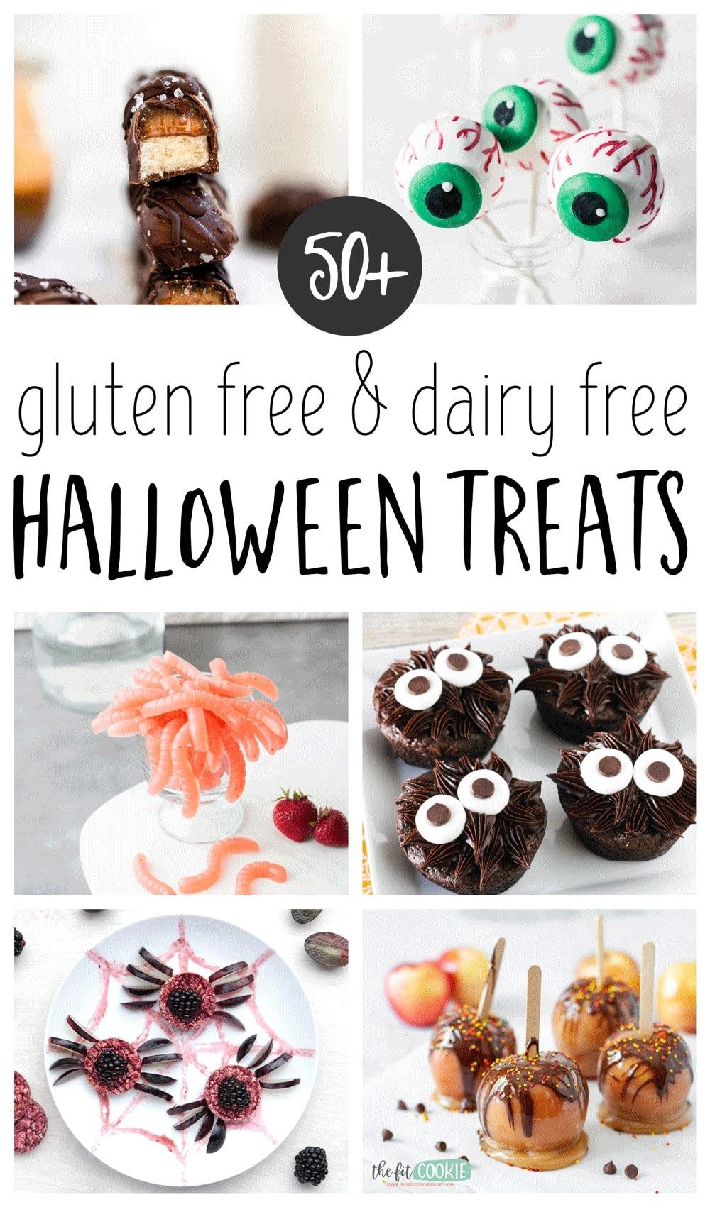 photo collage of gluten free Halloween treats