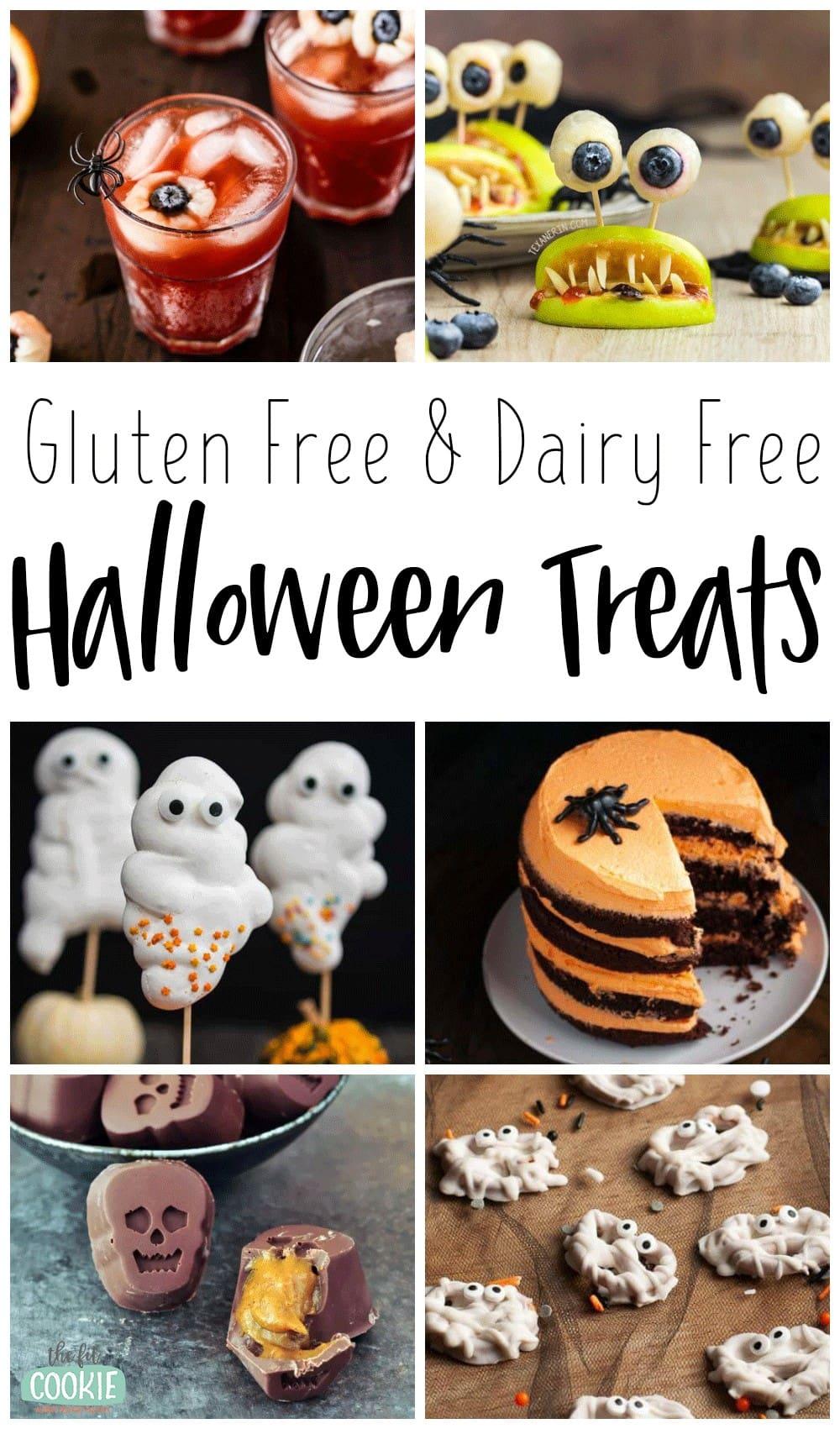 photo collage of dairy free halloween treats