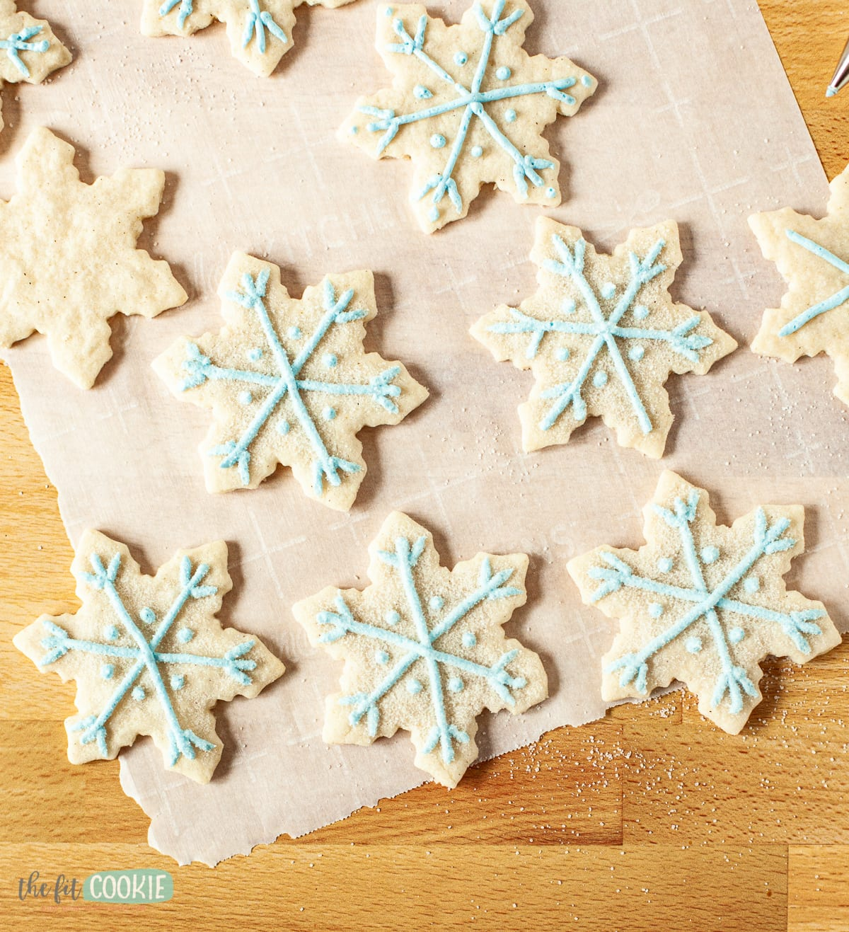 snowflake cut out cookies with blue frosting