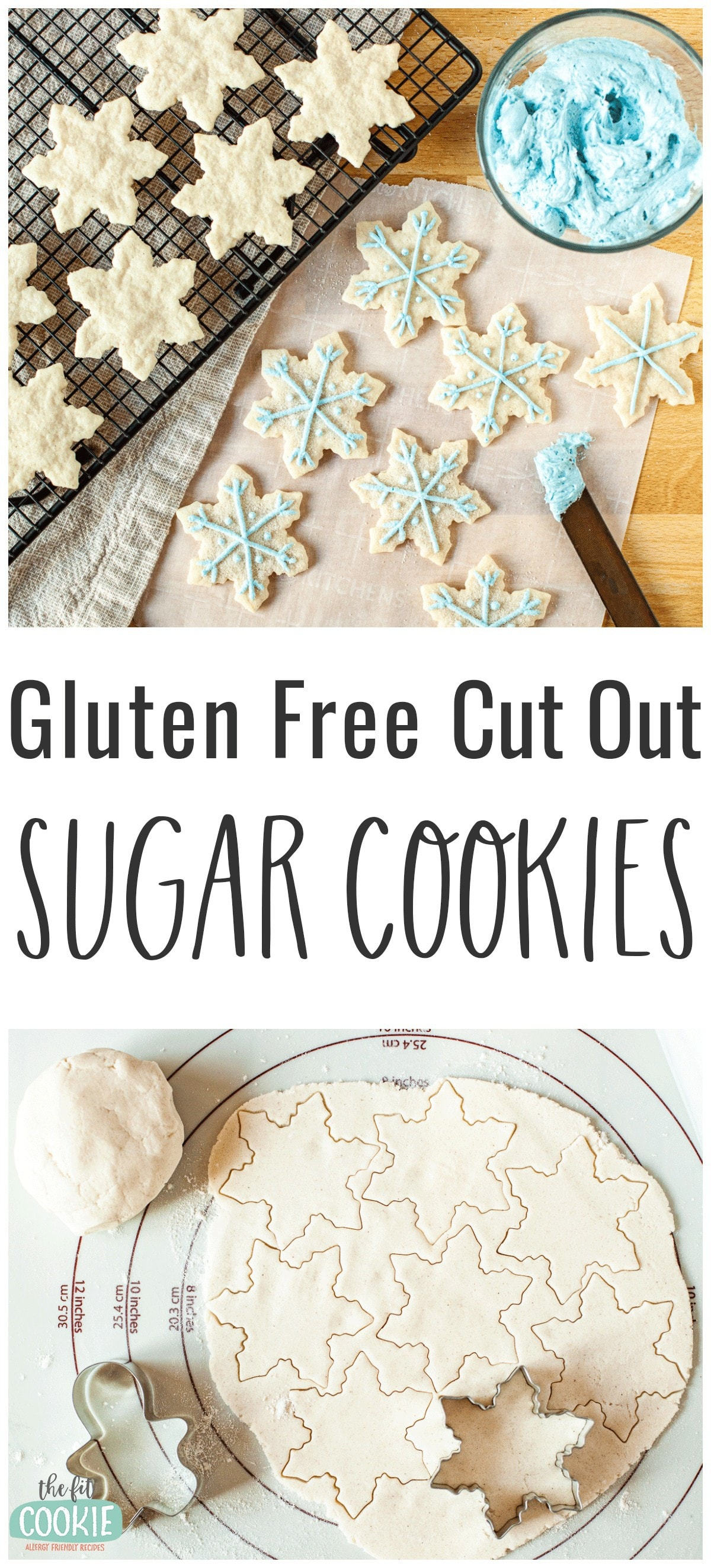 photo collage of gluten free cut out cookies shaped like snowflakes