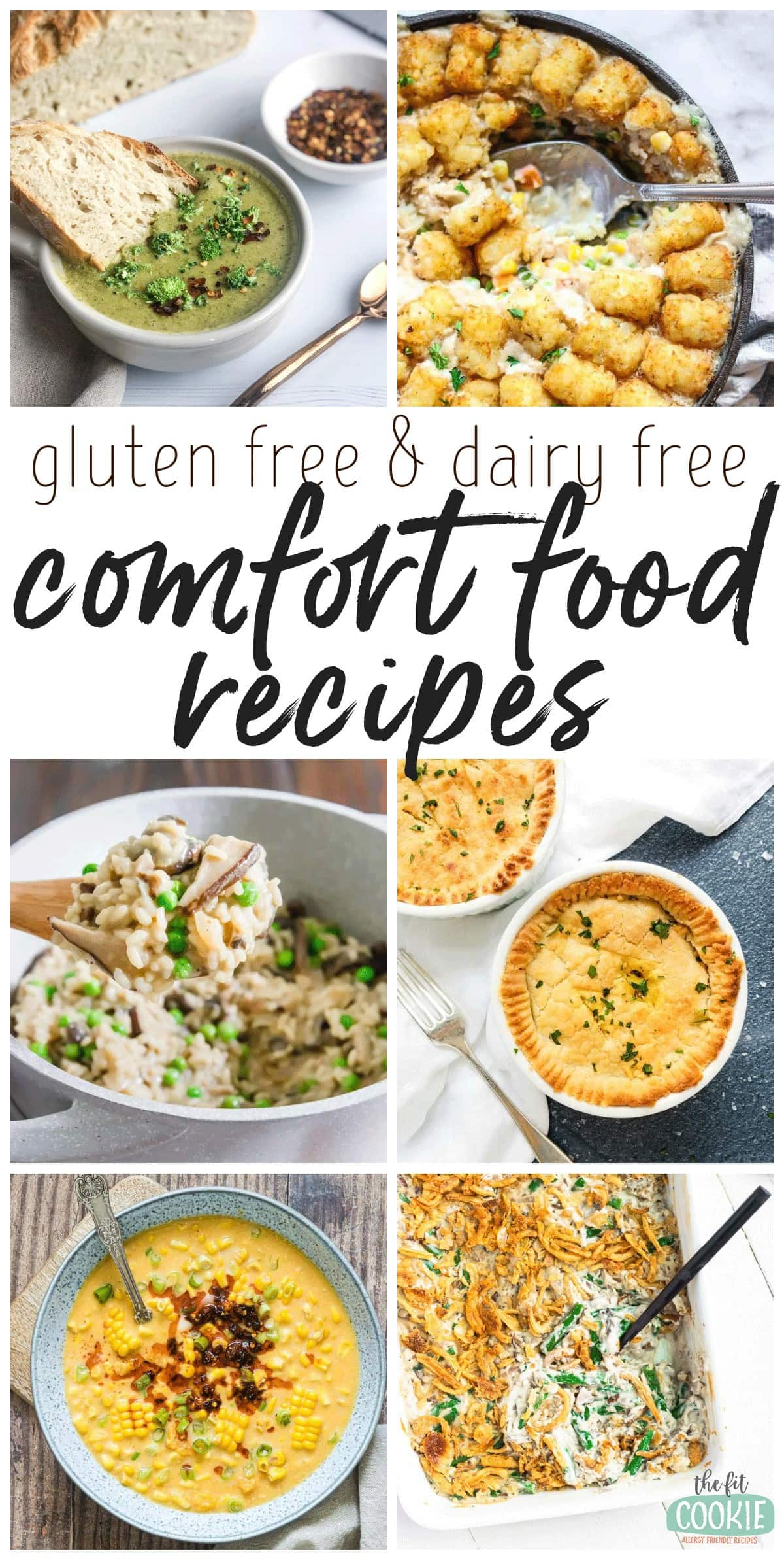 photo collage of dairy free comfort food recipes