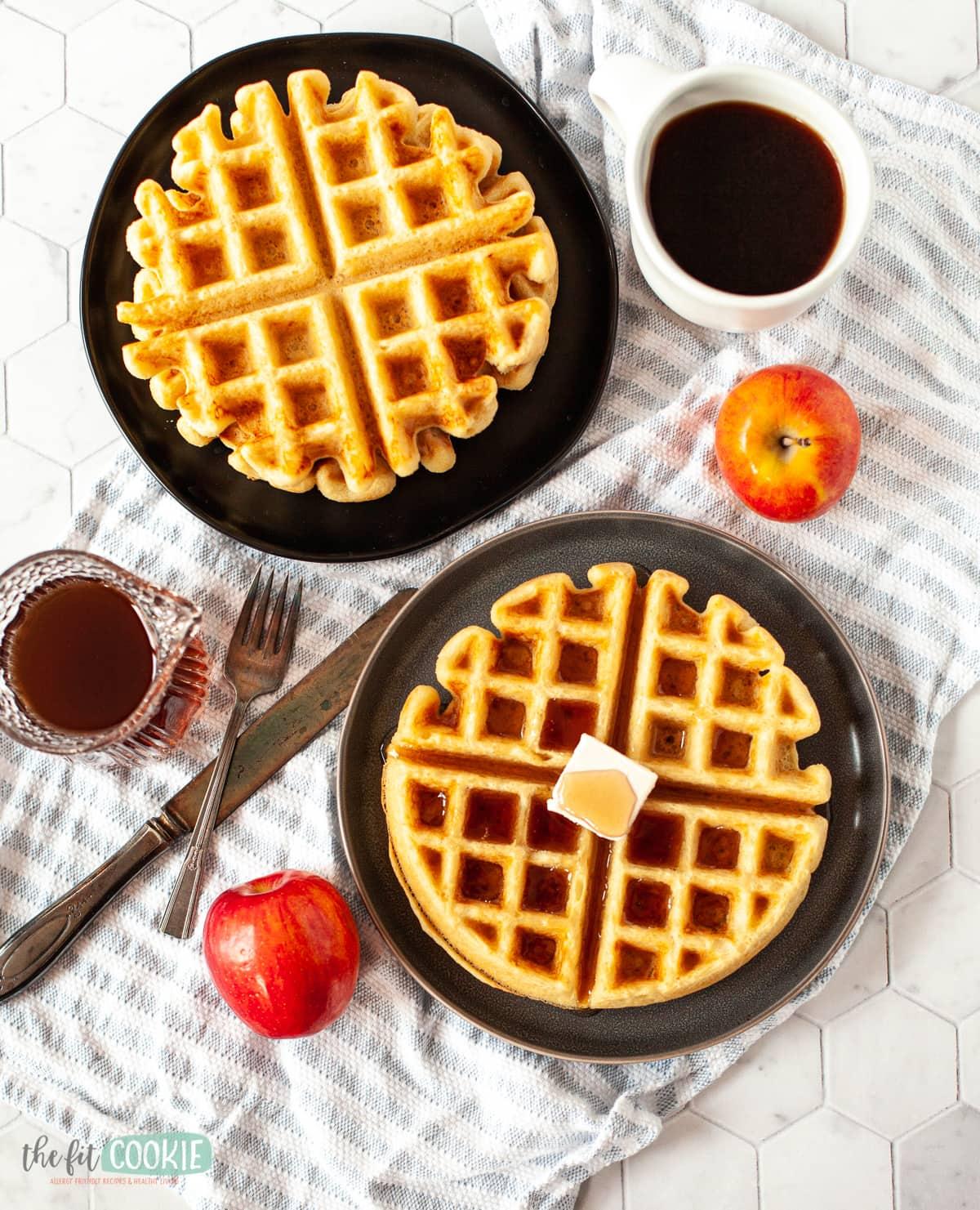 Overhead photo of dairy free waffles