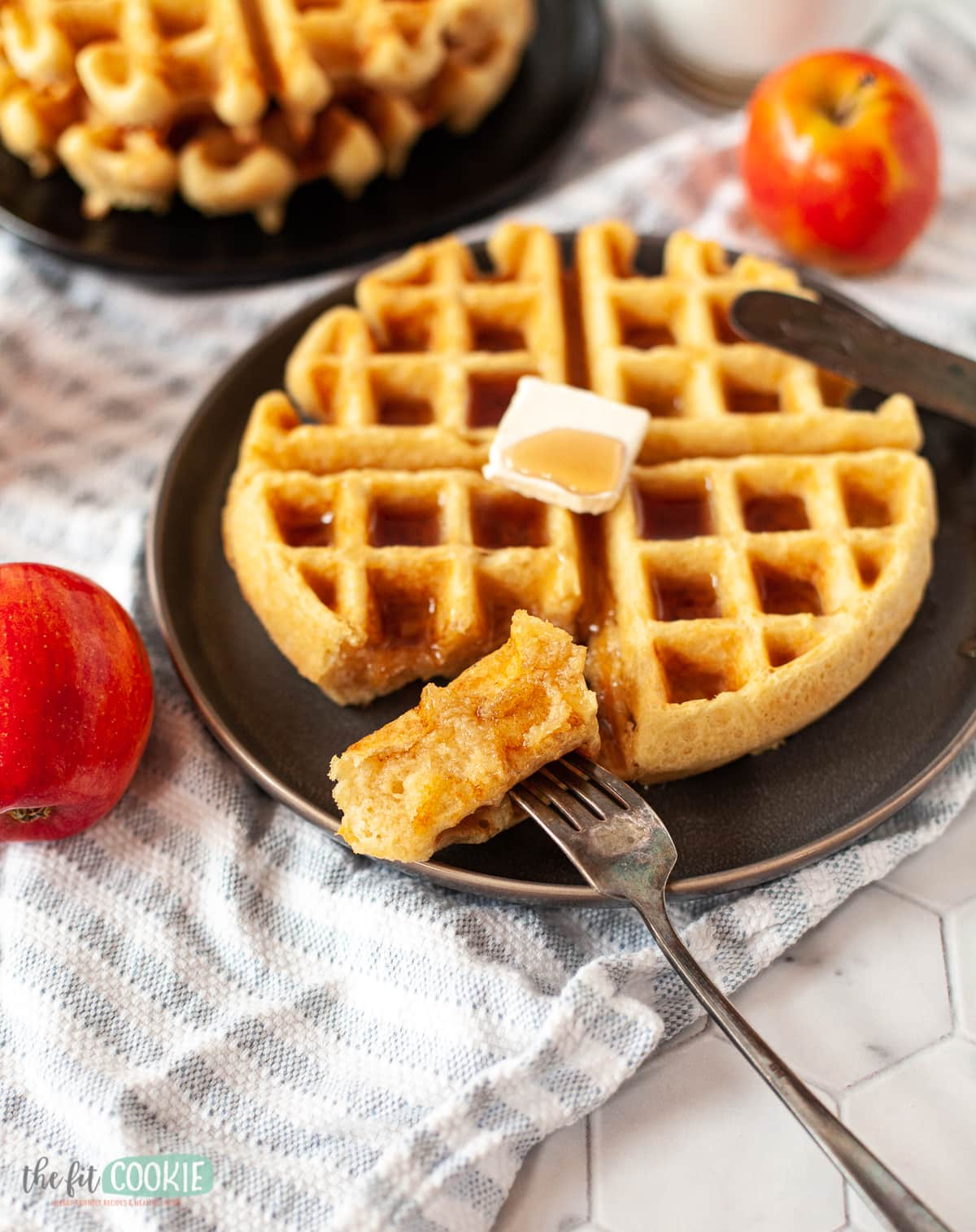 gluten free waffles with a piece on a fork