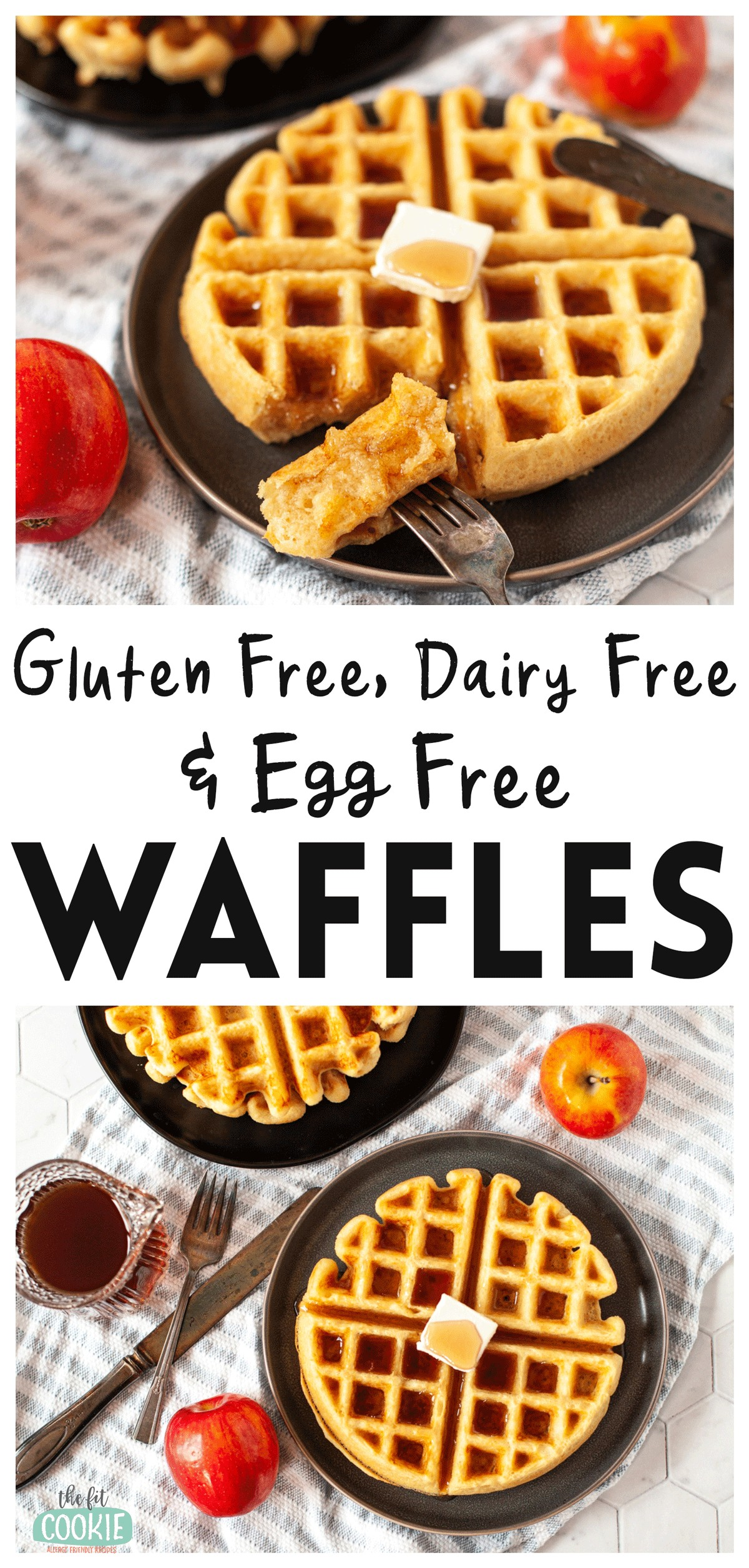 photo collage of gluten free waffles on a black plate