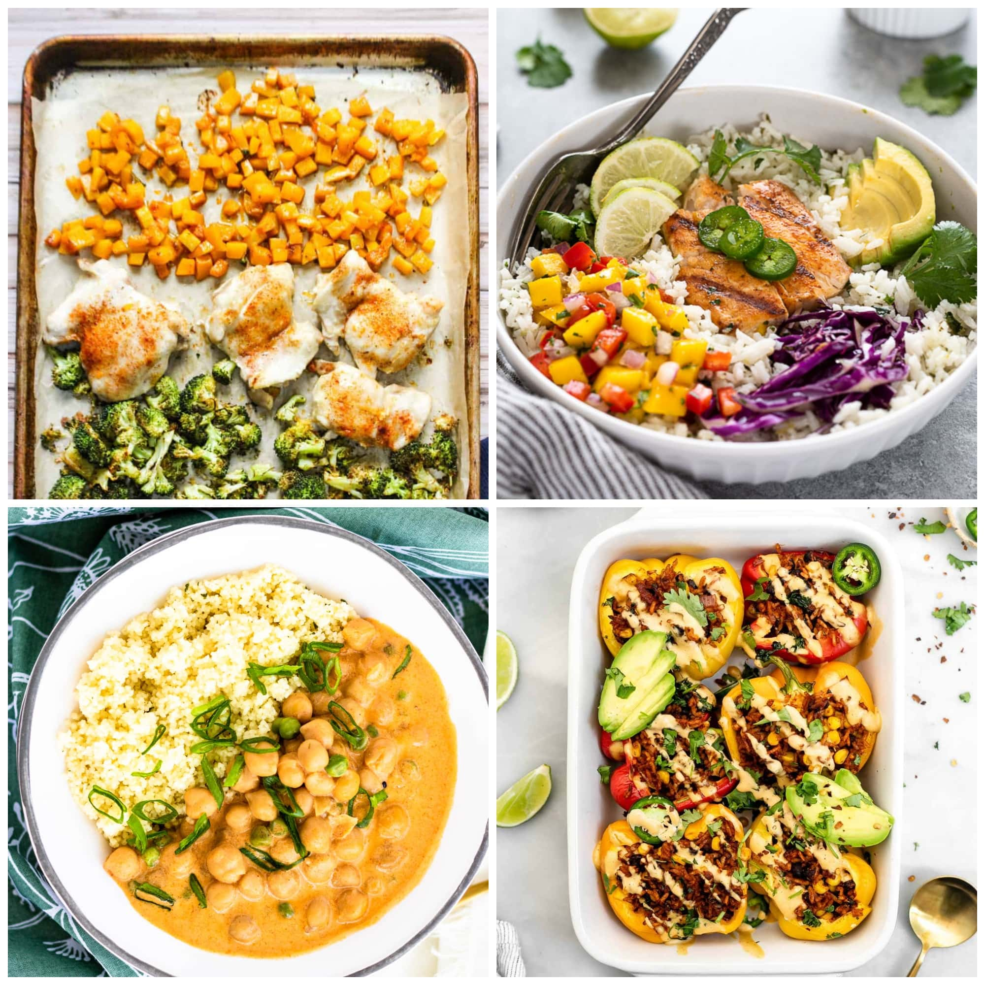 photo collage of healthy gluten free dinners
